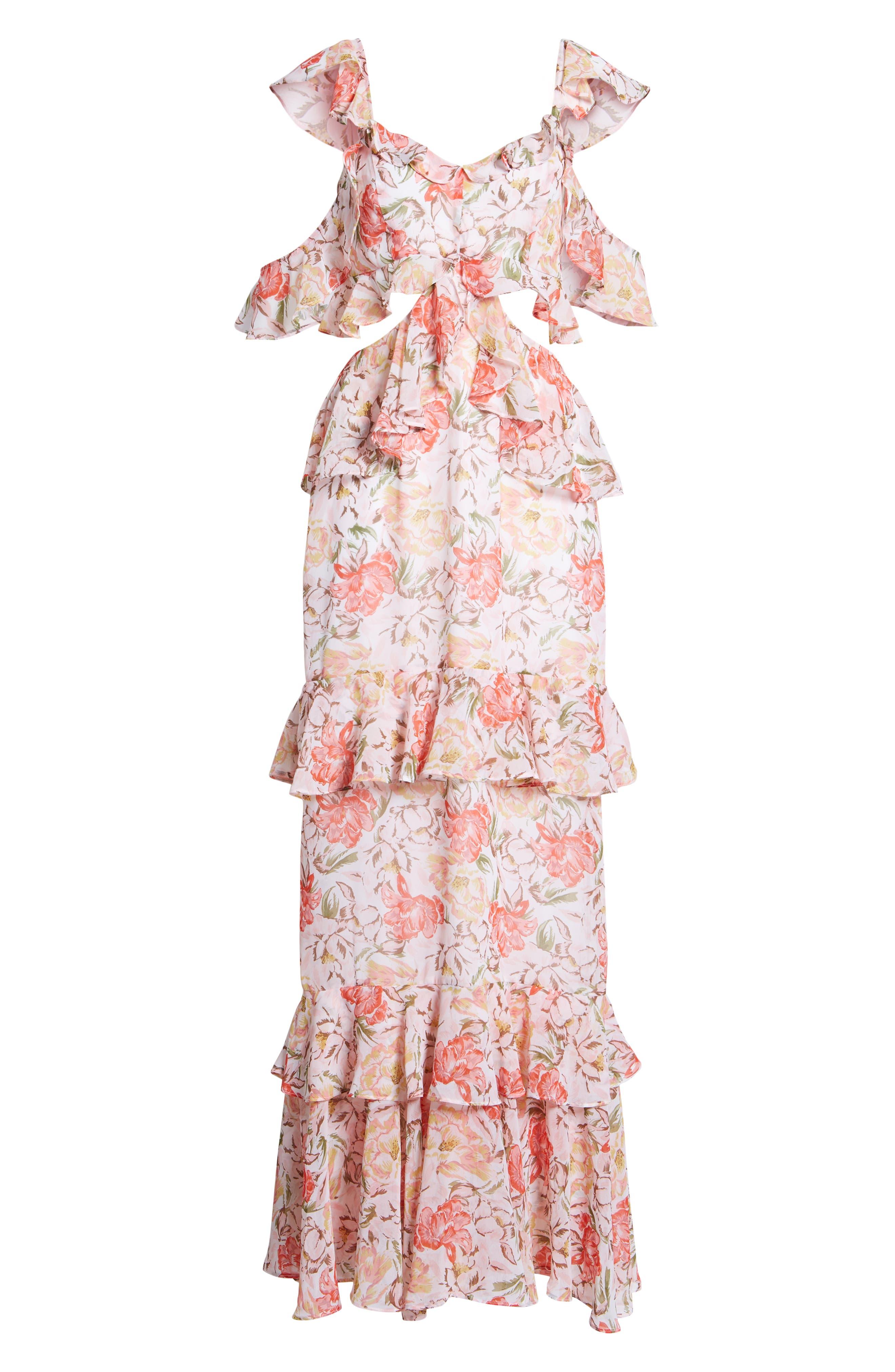 Milan Cut Out Ruffle Maxi Dress,                             Alternate thumbnail 7, color,
