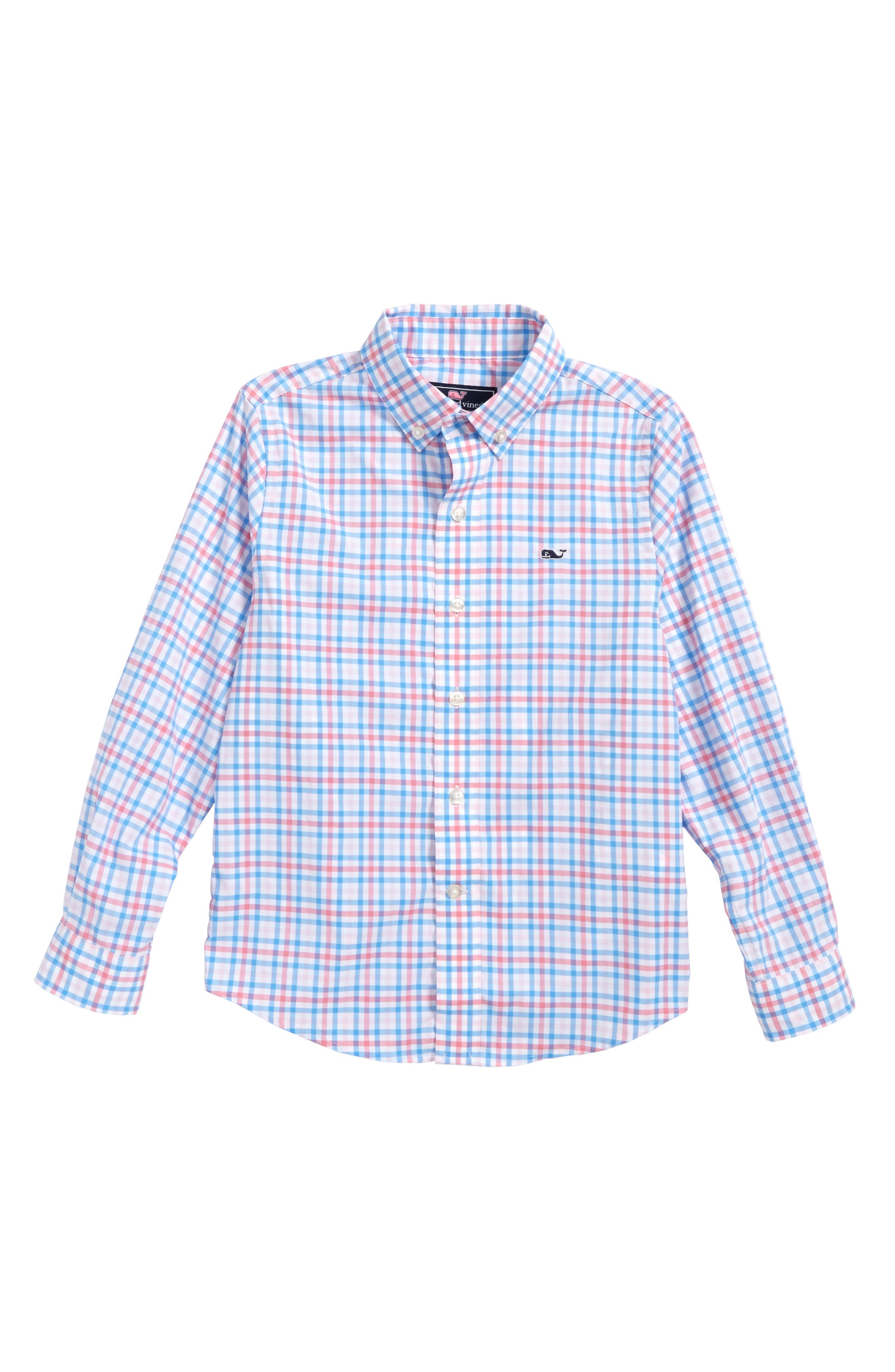 Gulf Shore Gingham Performance Woven Shirt,                         Main,                         color, 400