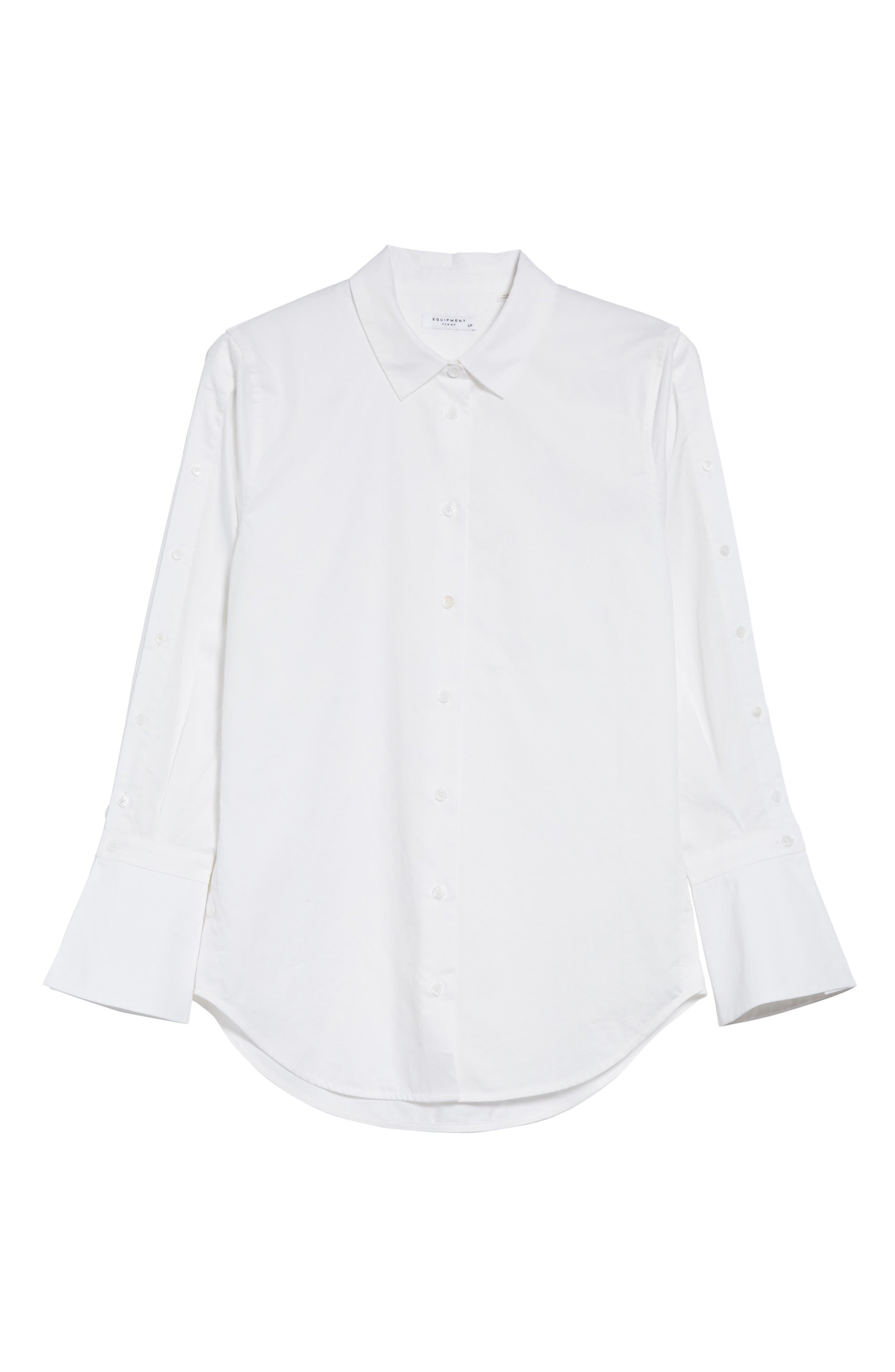 Rossi Button Detail Cotton Shirt,                             Alternate thumbnail 6, color,                             111