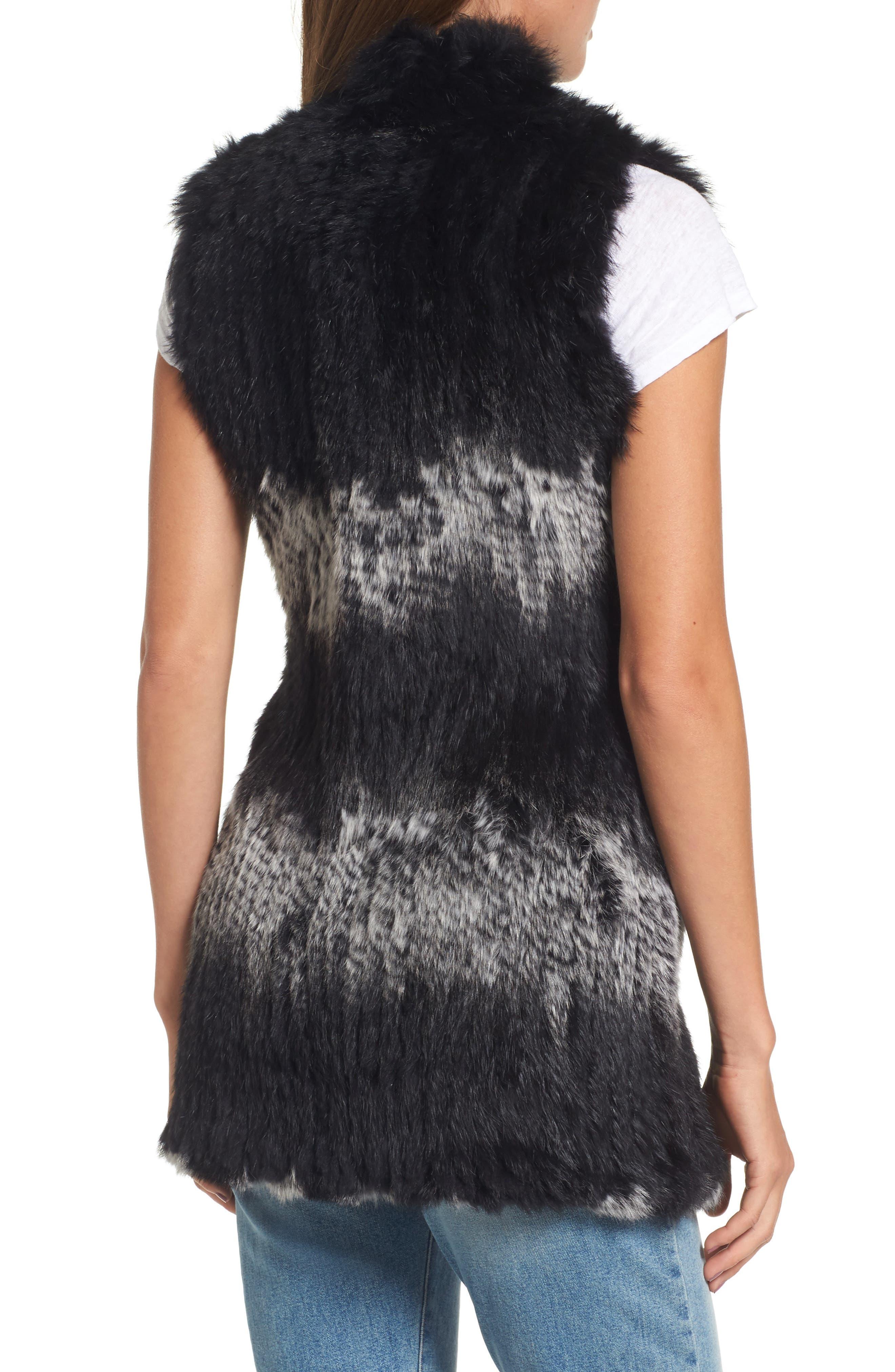 Stripe Genuine Rabbit Fur Vest,                             Alternate thumbnail 2, color,                             962