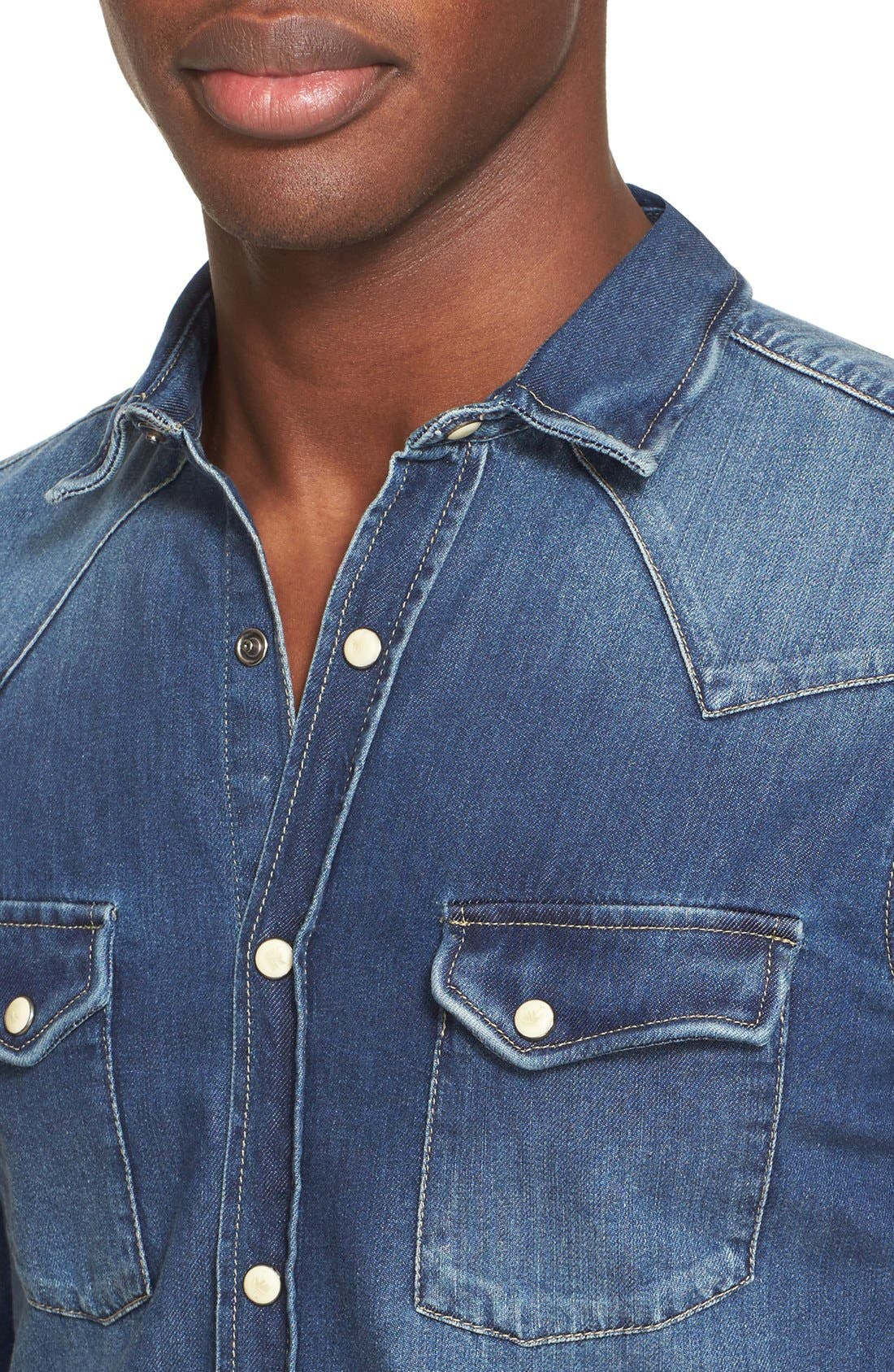 Trim Fit Washed Denim Western Shirt,                             Alternate thumbnail 3, color,                             BLUE