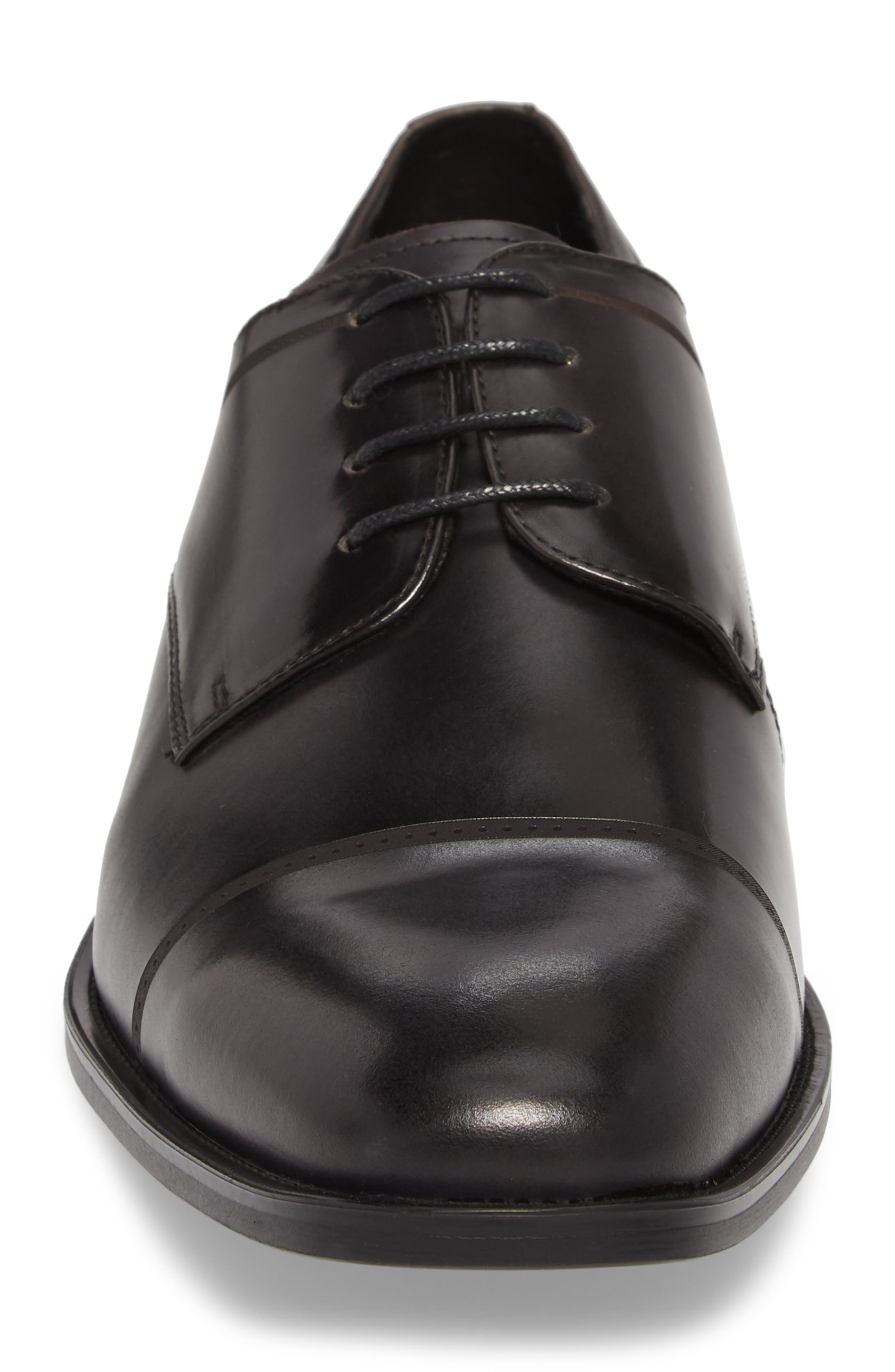 Leisure Time Cap Toe Derby,                             Alternate thumbnail 4, color,                             DARK GREY LEATHER