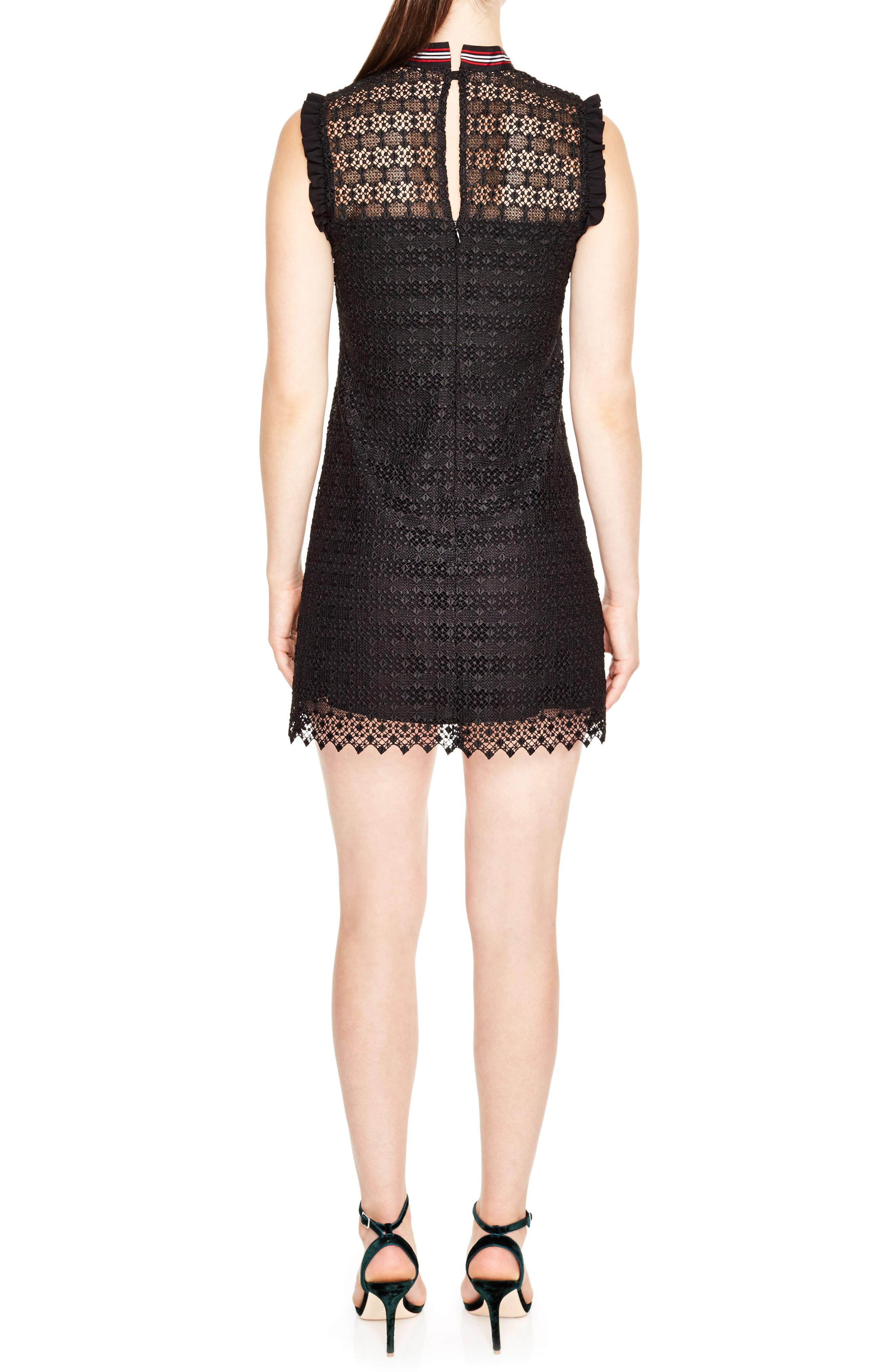 Tie Neck Lace Sheath Dress,                             Alternate thumbnail 2, color,                             001