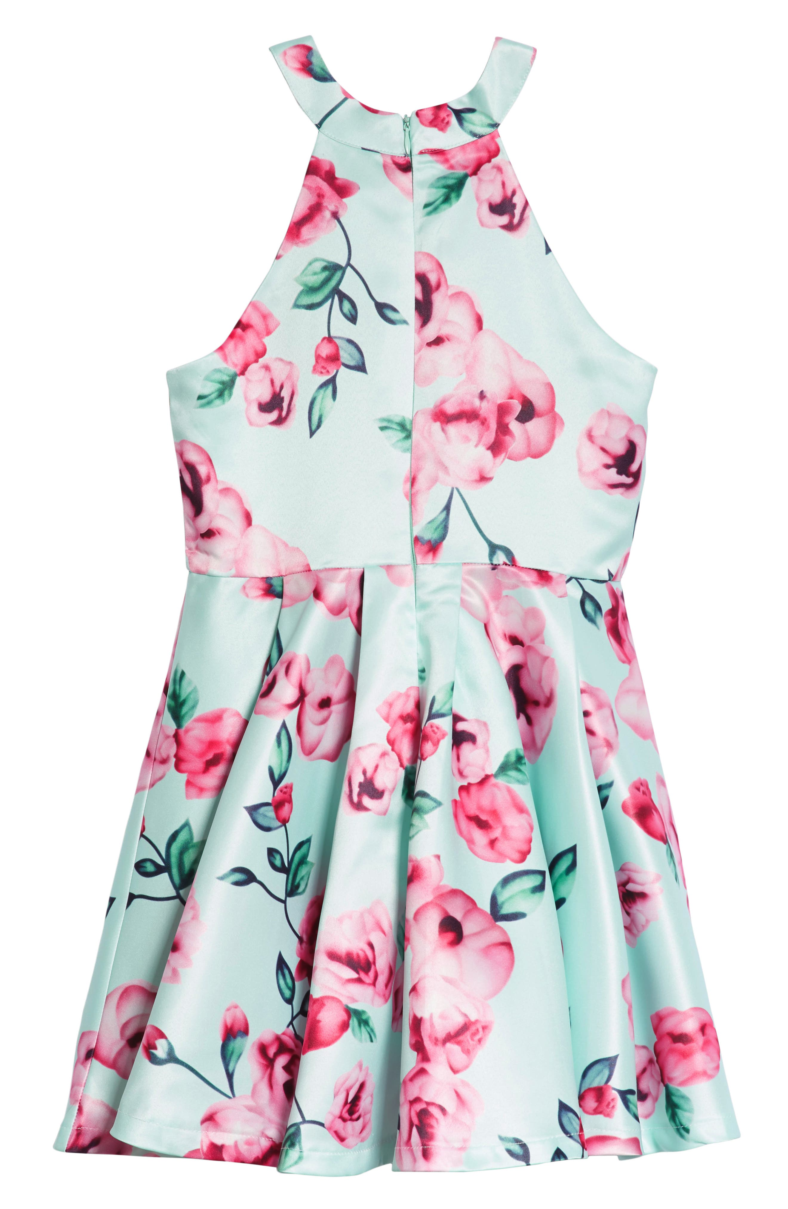 Floral Fit & Flare Dress,                             Alternate thumbnail 2, color,                             300