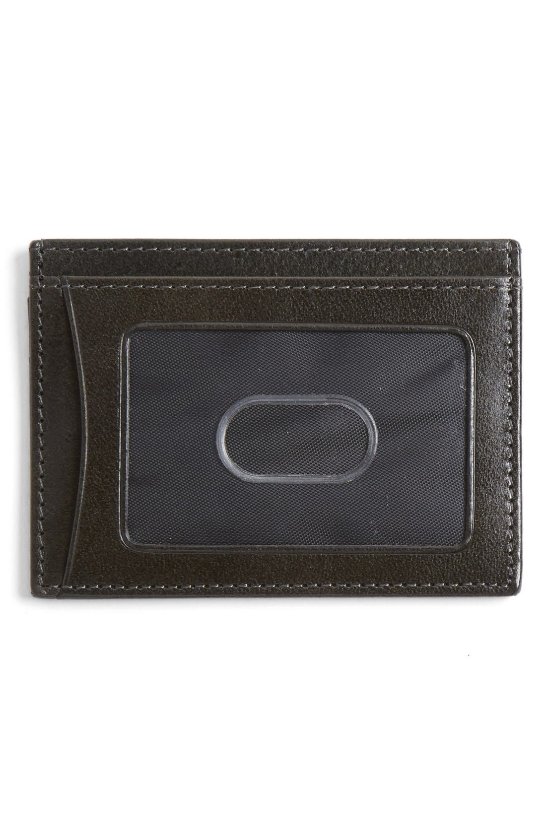Leather Card Case,                             Alternate thumbnail 2, color,                             CHARCOAL