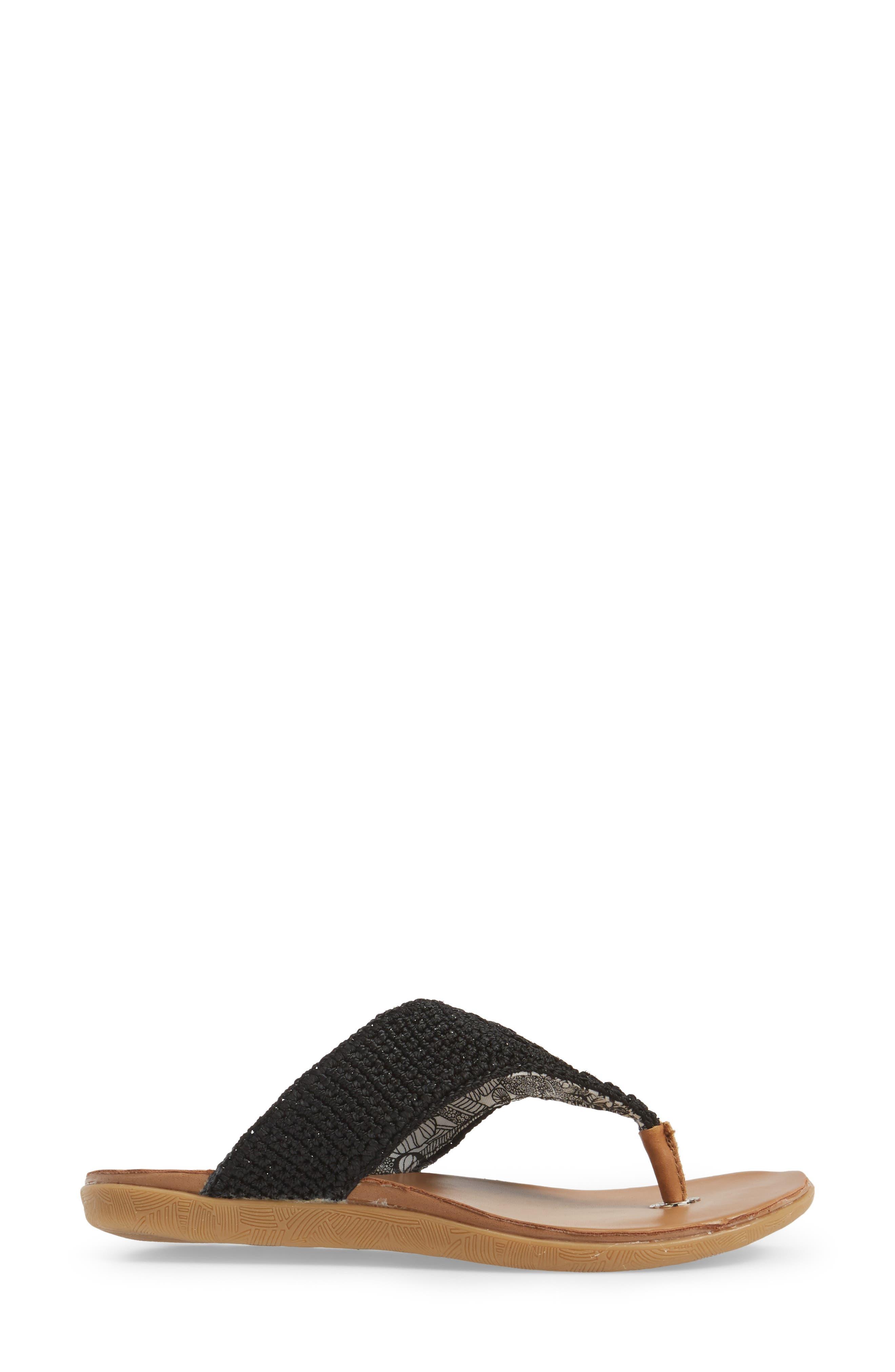 Sarria Flip Flop,                             Alternate thumbnail 3, color,                             BLACK SPARKLE FABRIC
