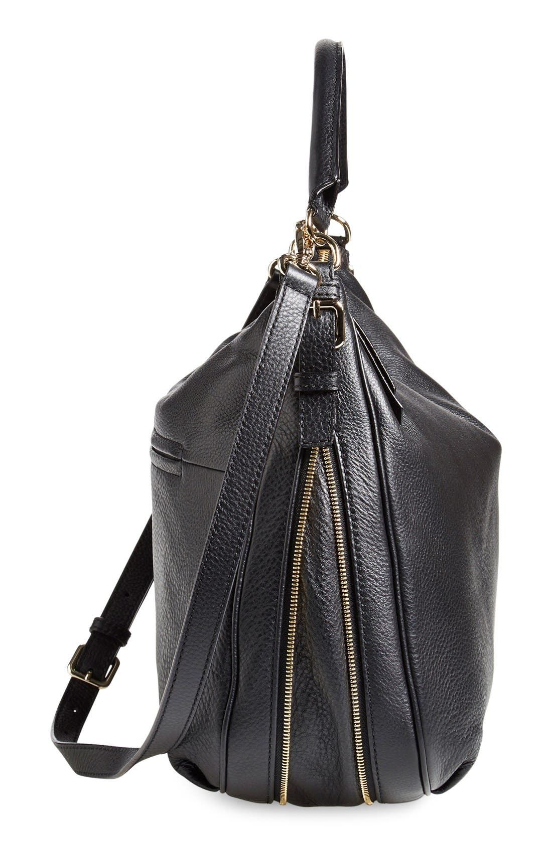 'cobble hill - ella' leather hobo,                             Alternate thumbnail 3, color,                             001