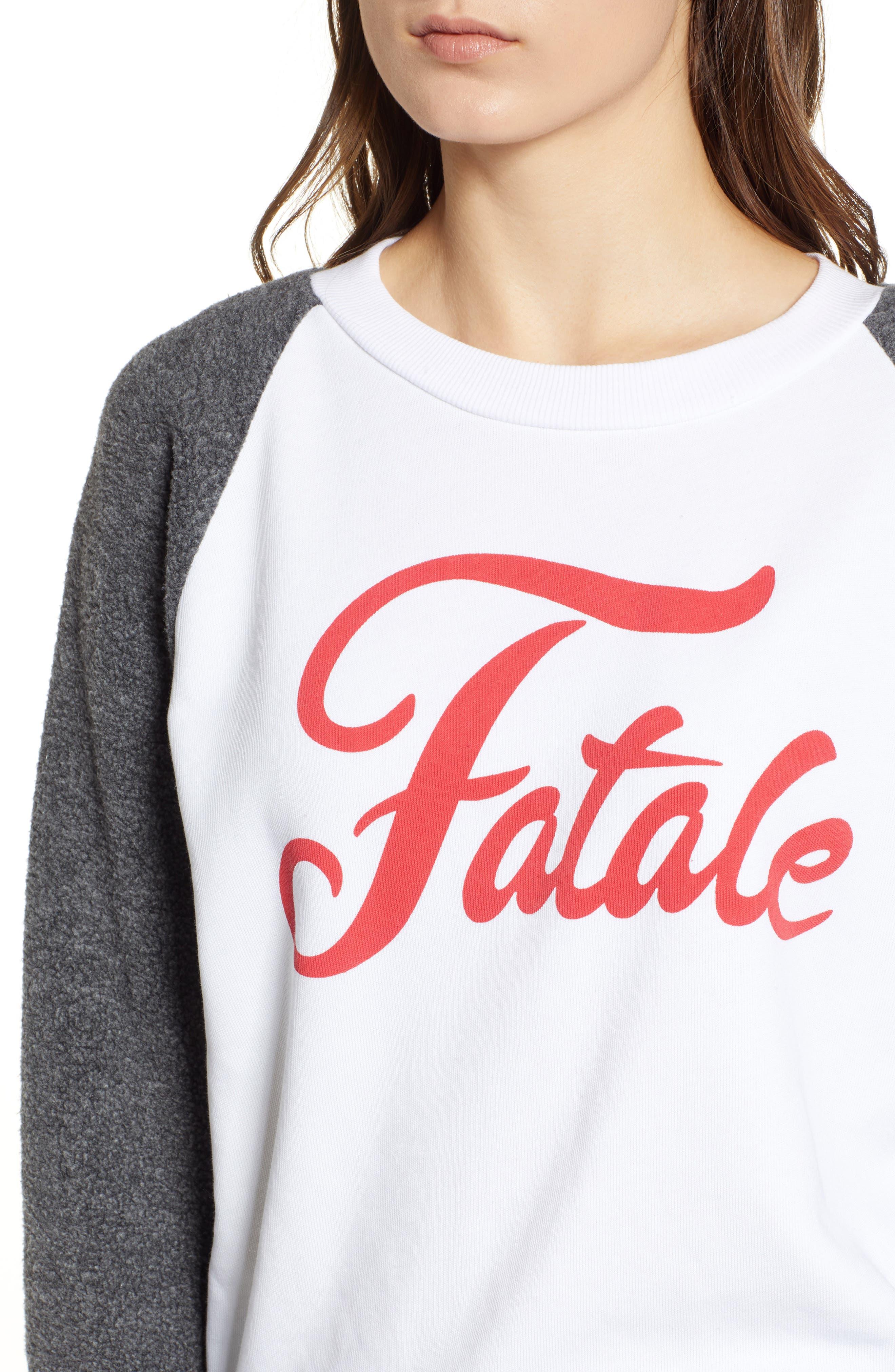 Fatale Fleece Sleeve Sweatshirt,                             Alternate thumbnail 4, color,                             CLEAN WHITE/ CLEAN BLACK