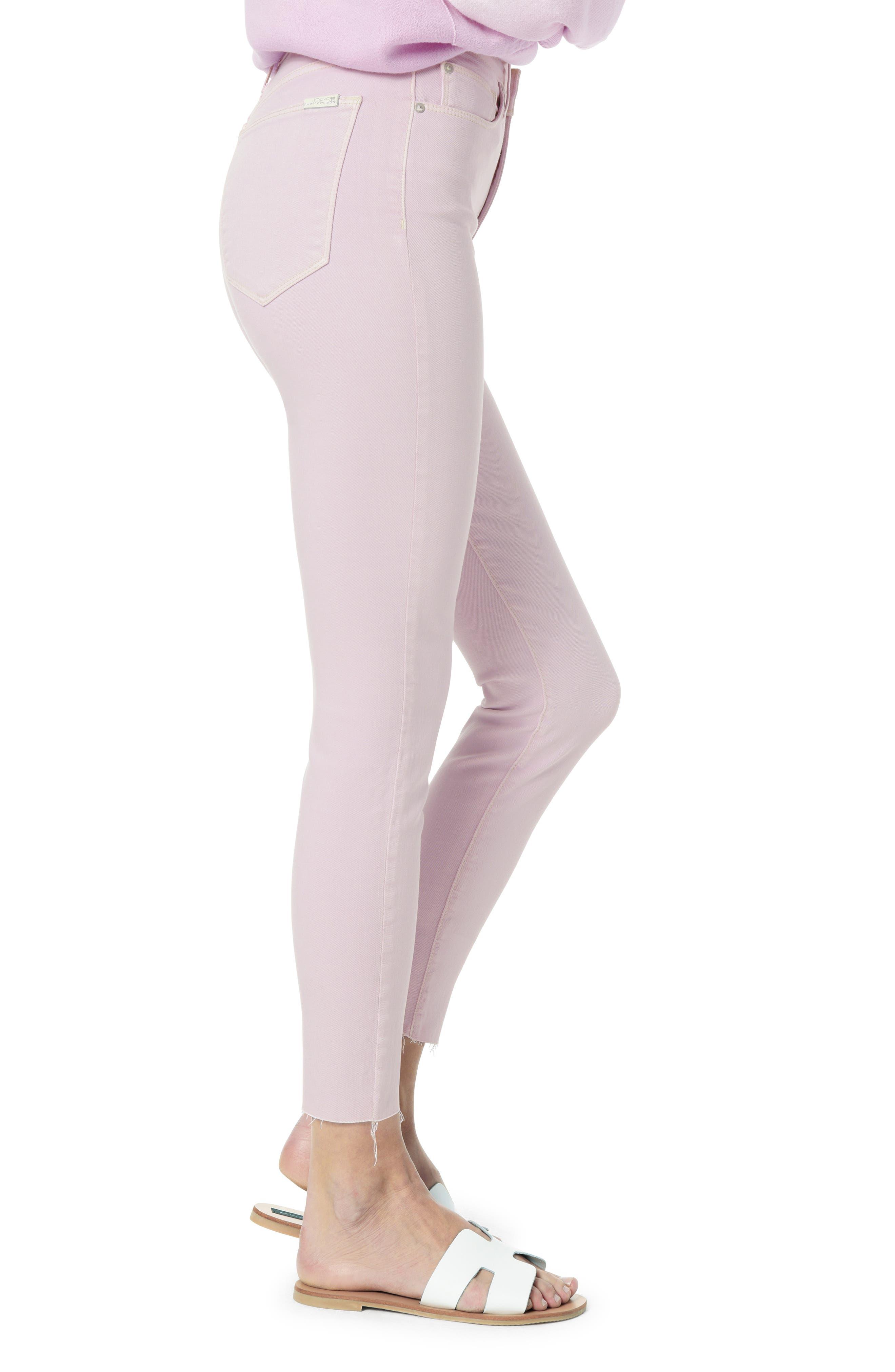 JOE'S,                             Flawless - Icon Raw Hem Crop Skinny Jeans,                             Alternate thumbnail 3, color,                             LAVENDER