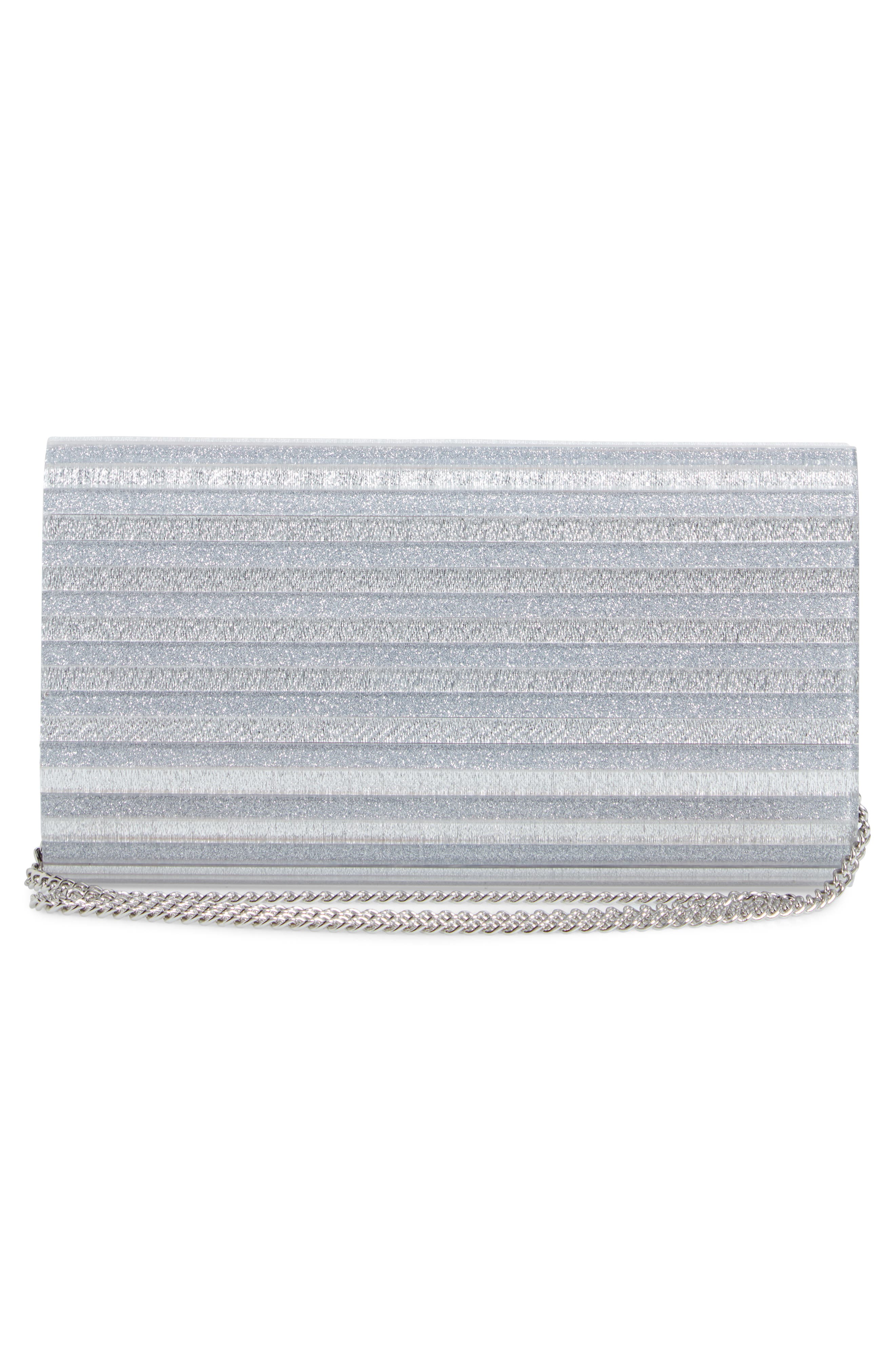 Glitter Lucite<sup>®</sup> Bar Clutch,                             Alternate thumbnail 3, color,                             SILVER