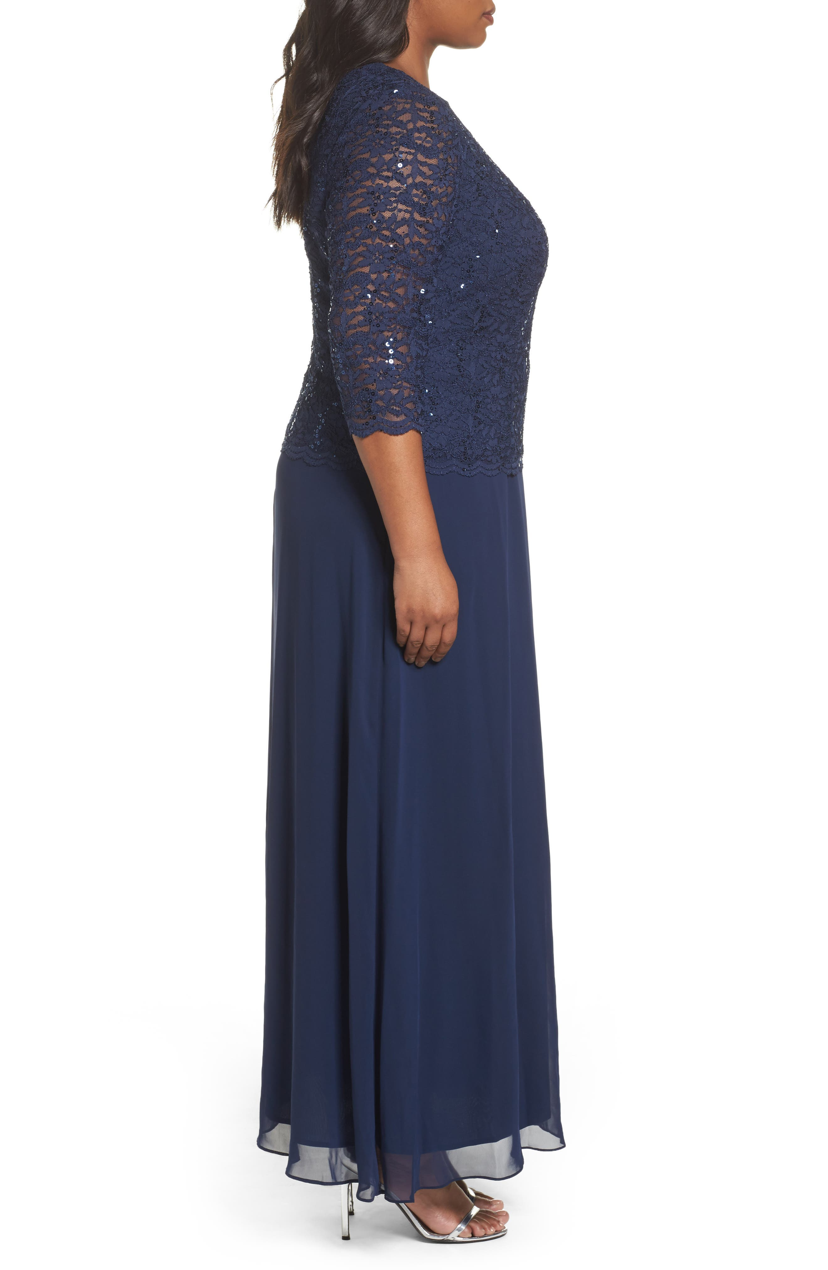 Embellished Lace & Chiffon Gown,                             Alternate thumbnail 3, color,                             NAVY