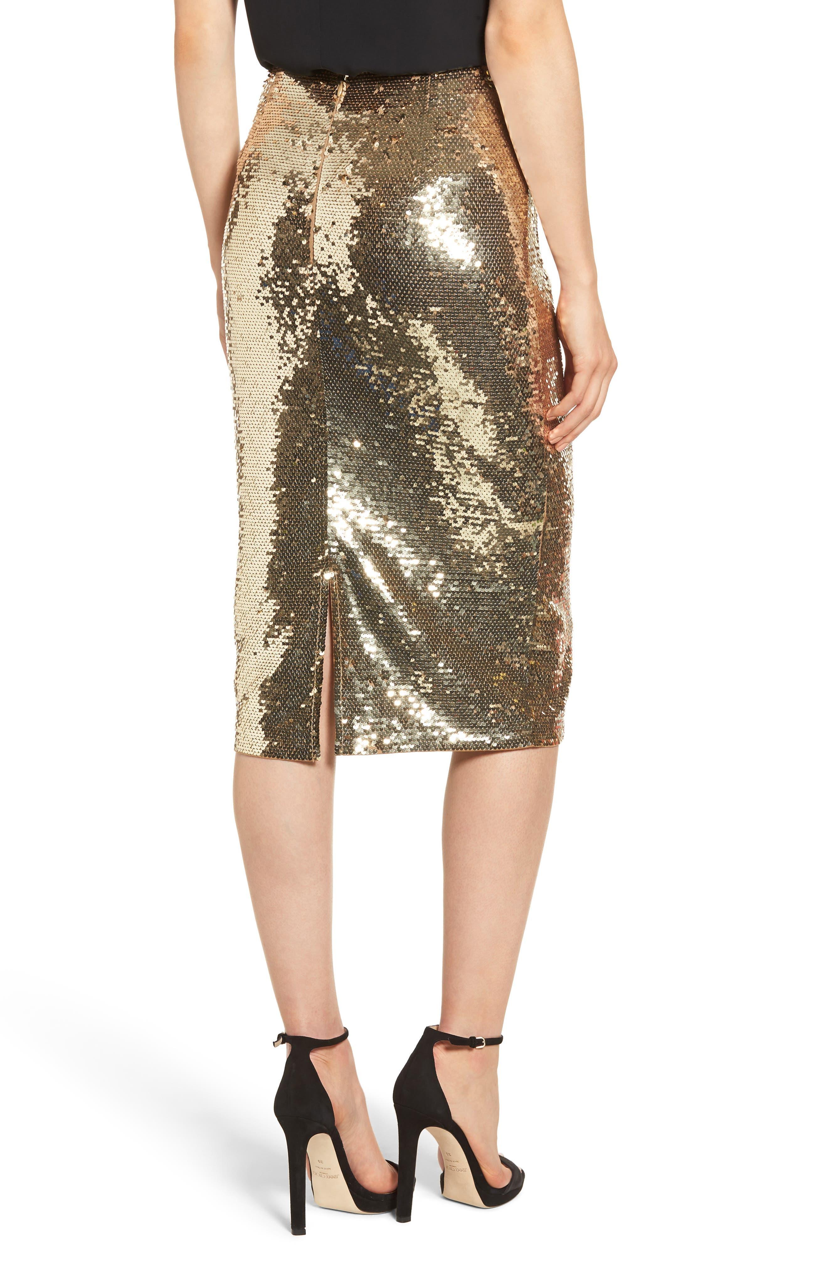Sequin Pencil Skirt,                             Alternate thumbnail 2, color,                             GOLD