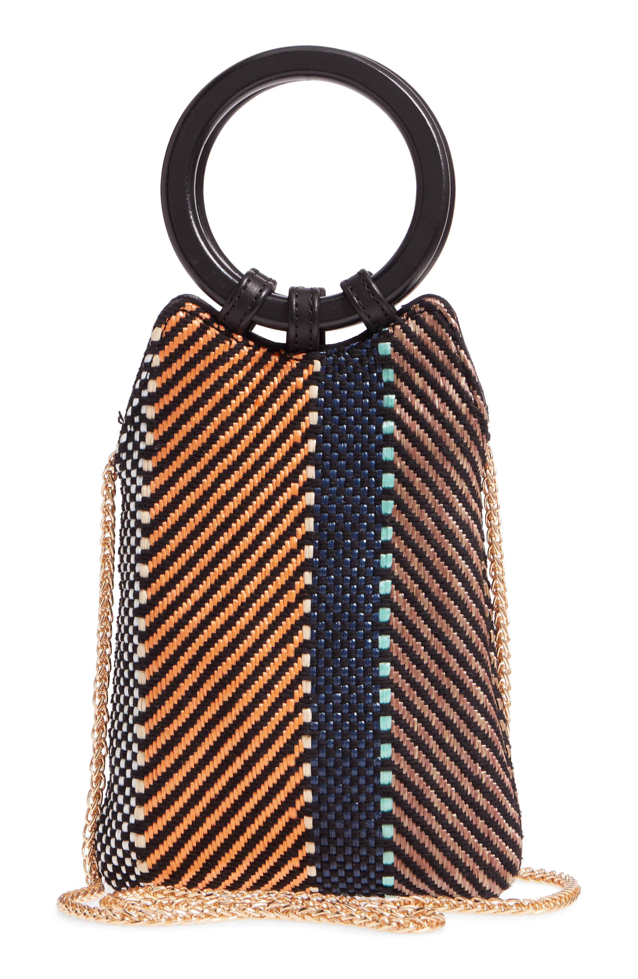 Mini Woven Top Handle Bag,                             Alternate thumbnail 3, color,                             MULTI