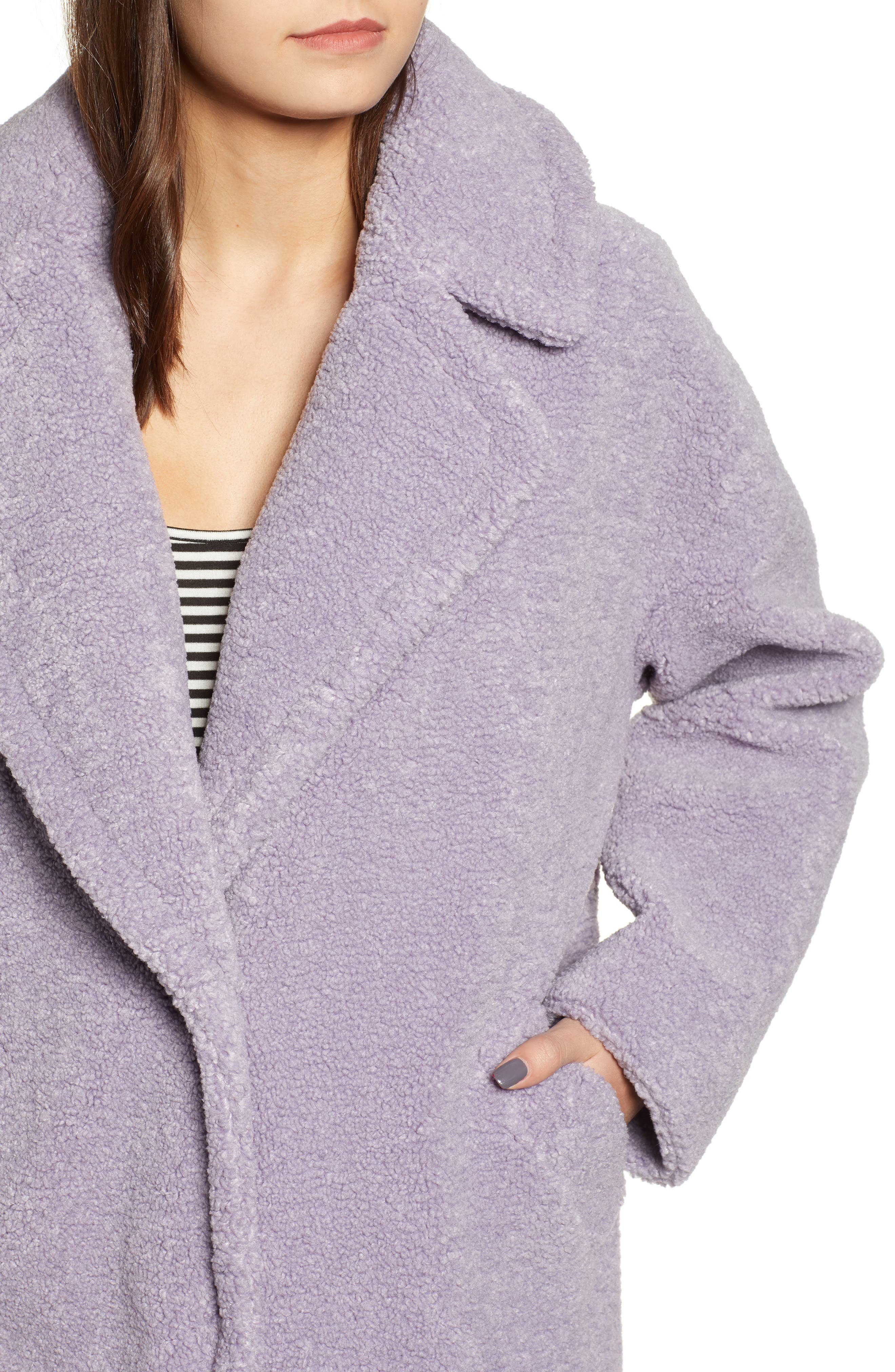 Faux Fur Teddy Coat,                             Alternate thumbnail 4, color,                             LILAC