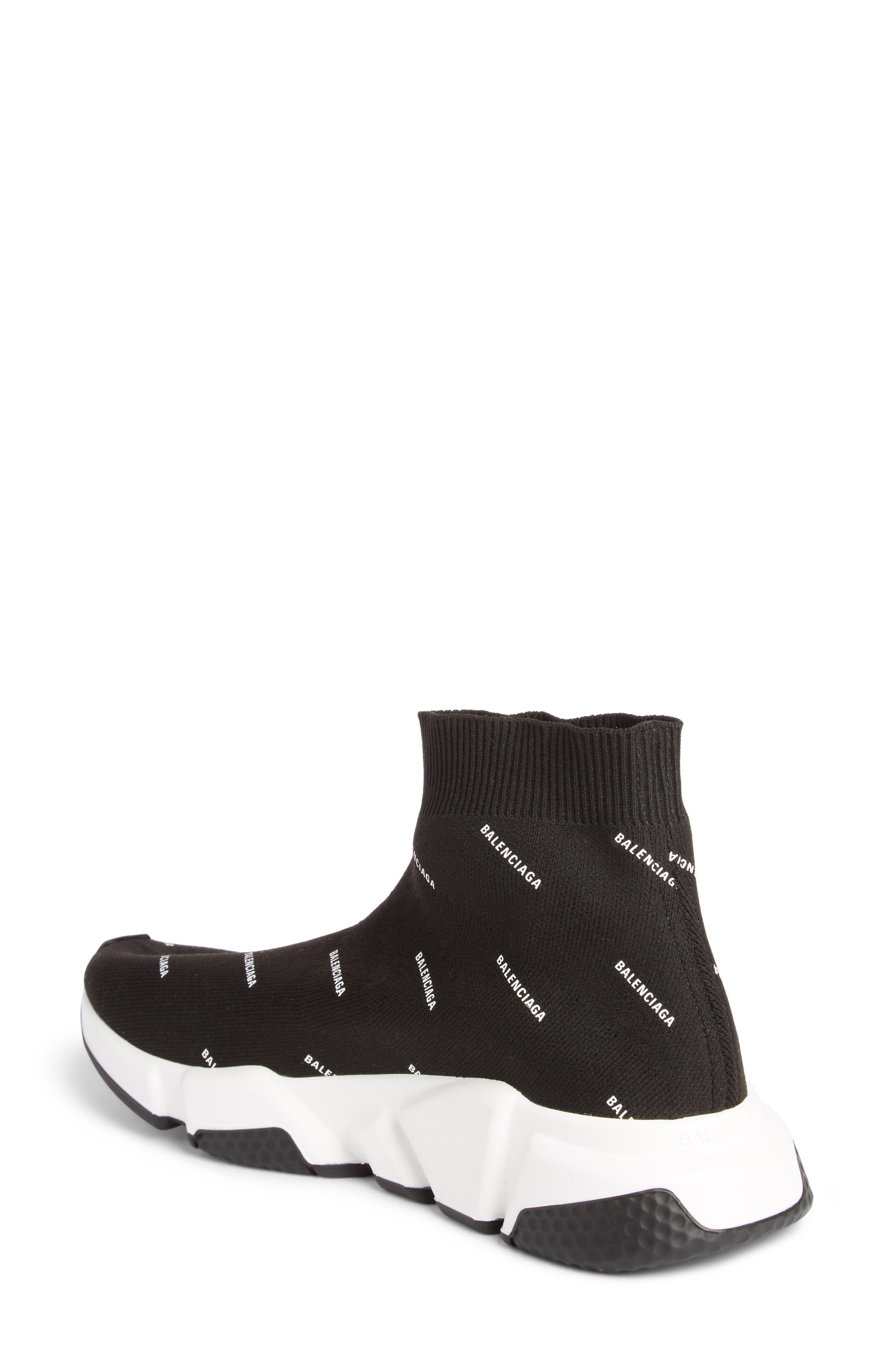 Speed Logo Sock Sneaker,                             Alternate thumbnail 2, color,                             BLACK/ WHITE