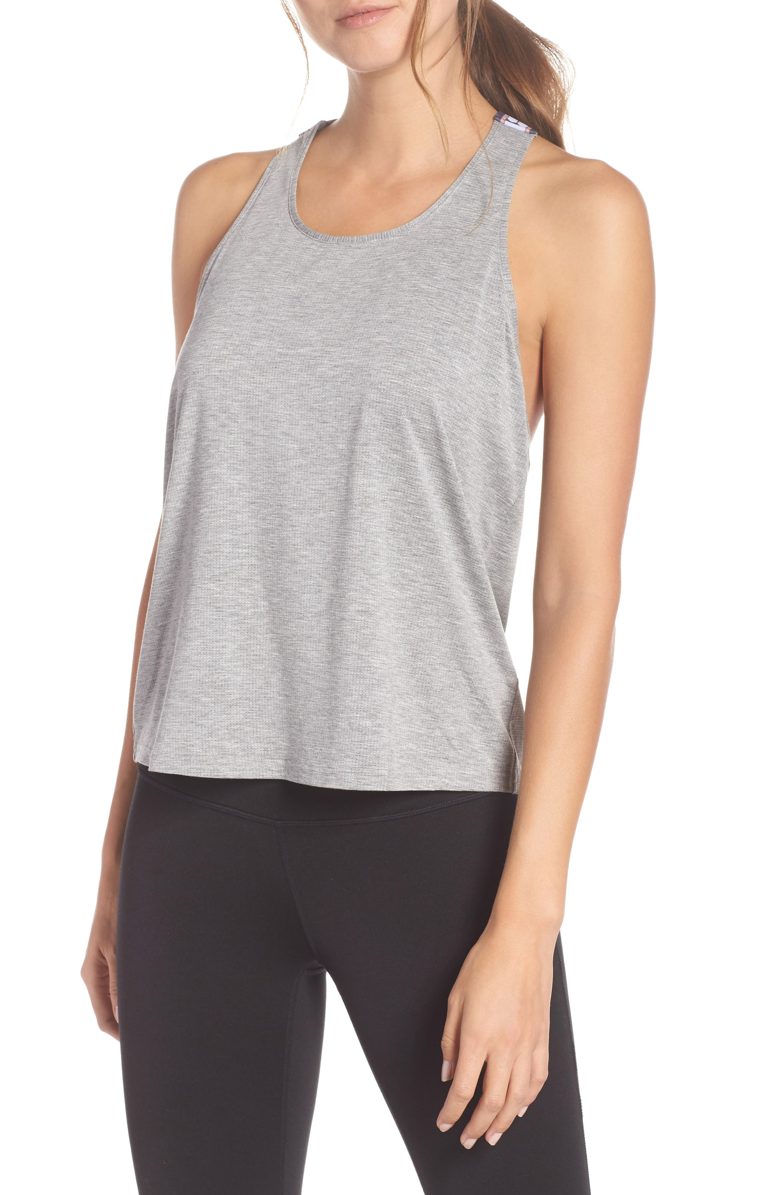 Workout Tank Top,                         Main,                         color, SILVER GREY MARL