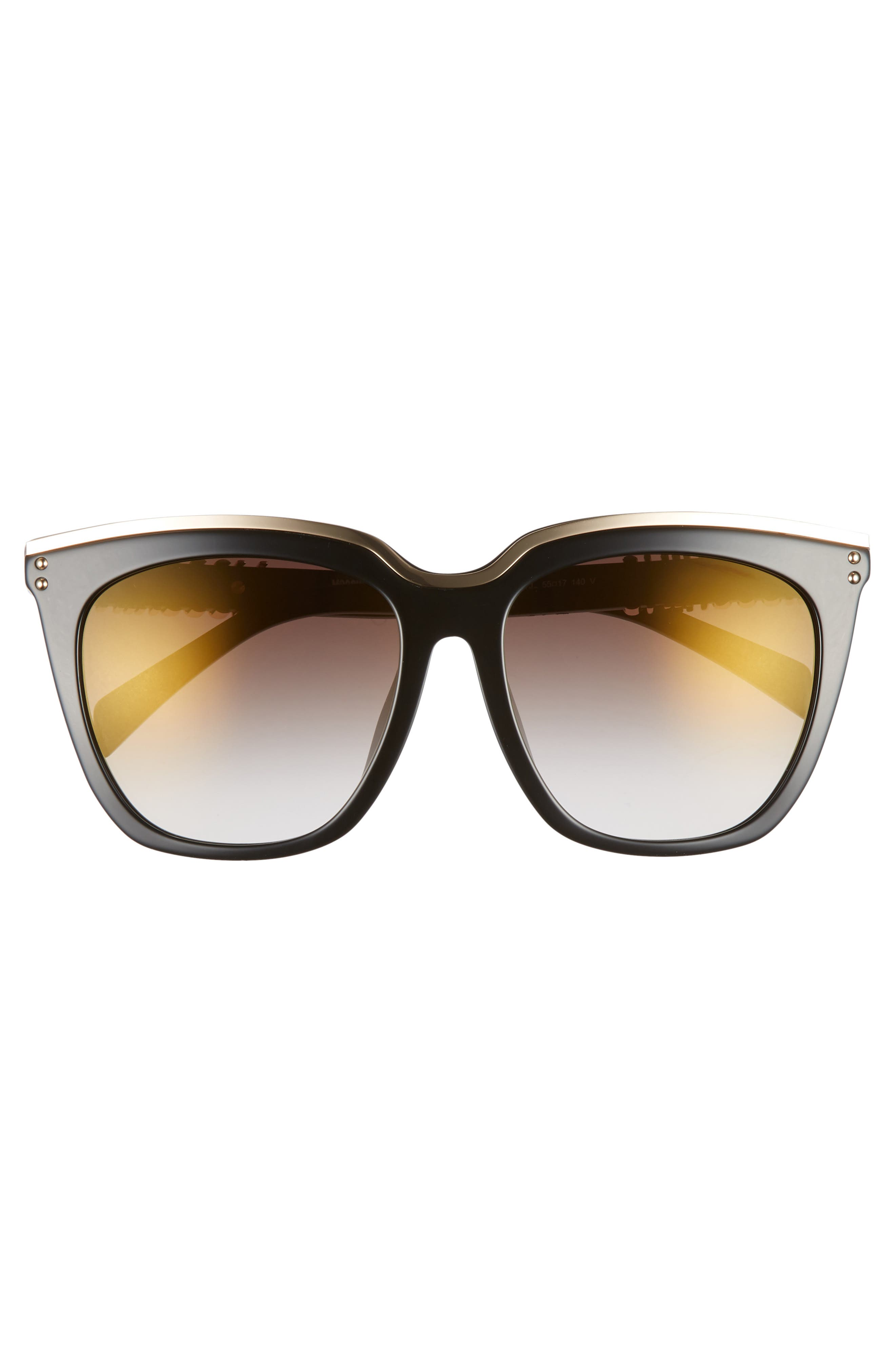 55mm Special Fit Mirrored Cat Eye Sunglasses,                             Alternate thumbnail 3, color,                             BLACK/ GOLD