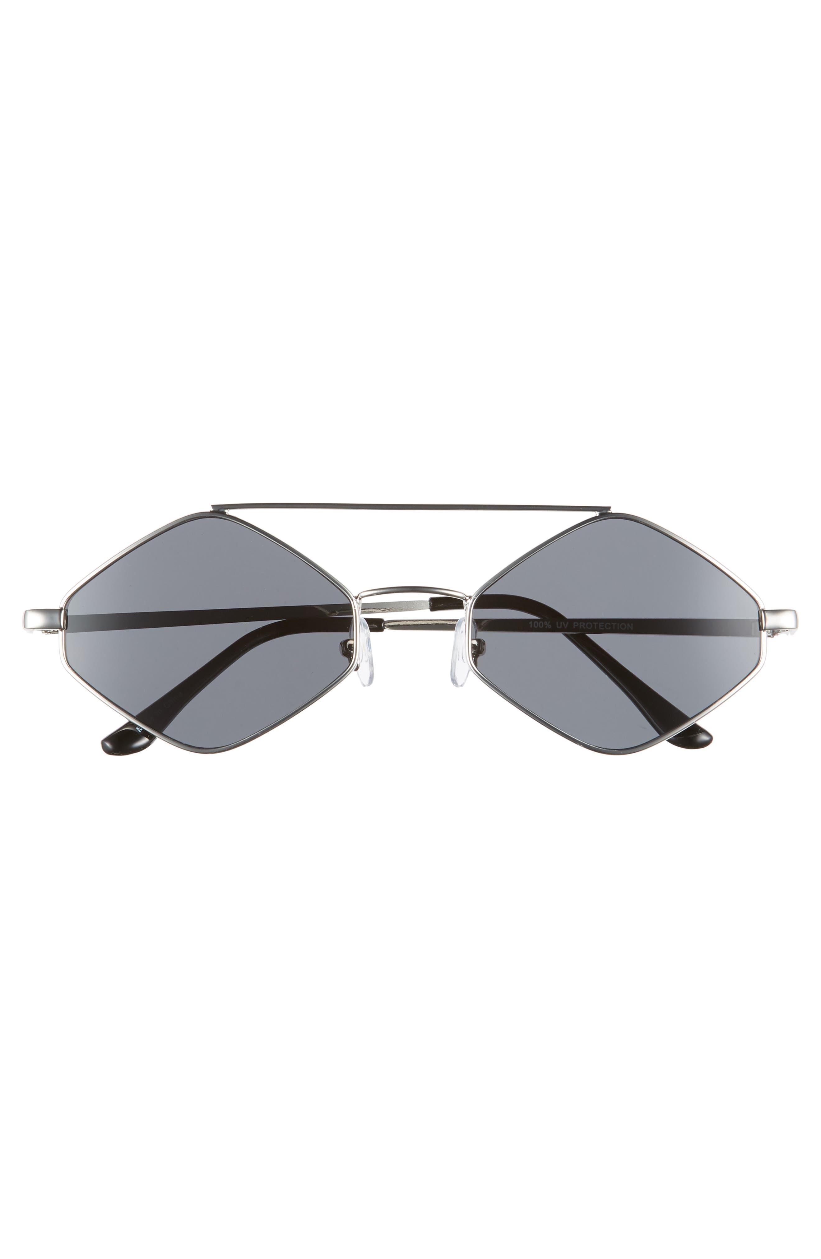 55mm Brow Bar Geometric Sunglasses,                             Alternate thumbnail 3, color,                             040