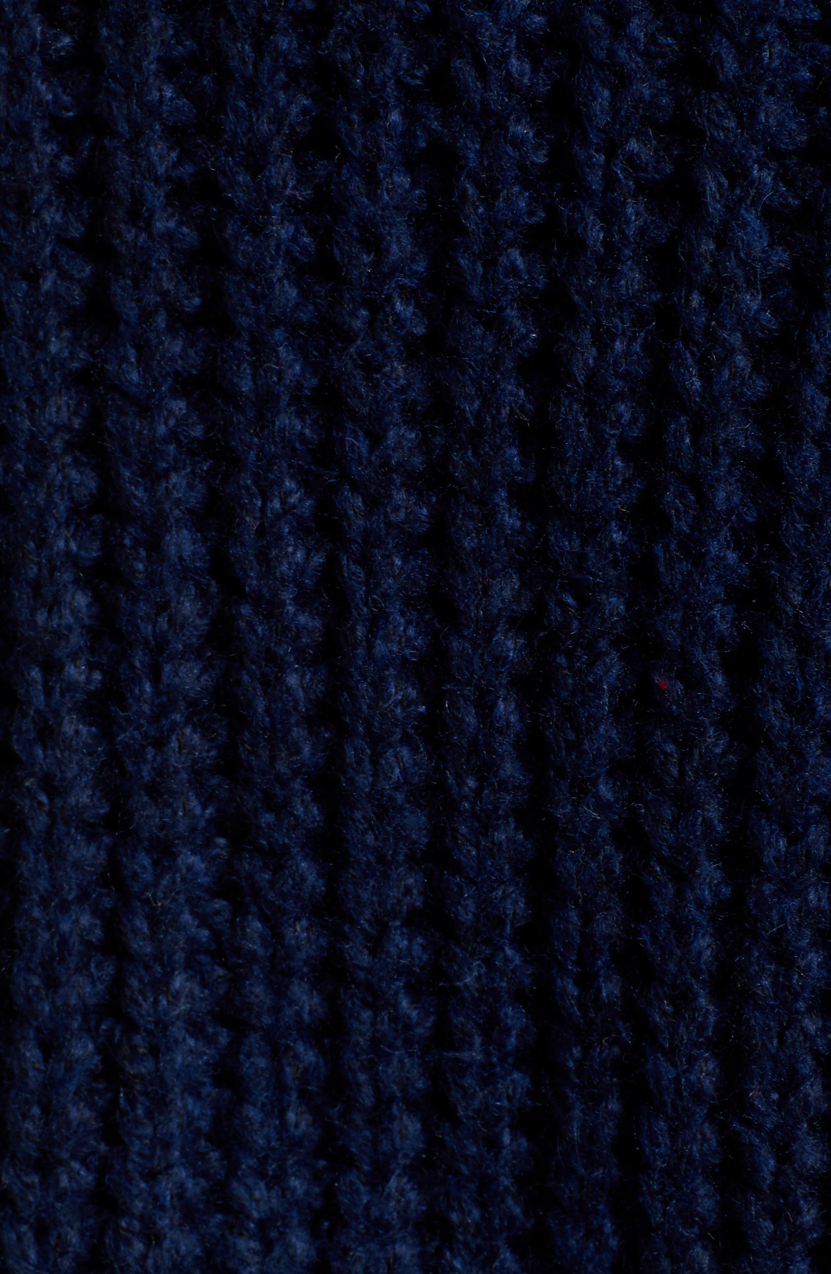 Rib Pointelle Detail Cotton Blend Sweater,                             Alternate thumbnail 5, color,                             CLASSIC NAVY