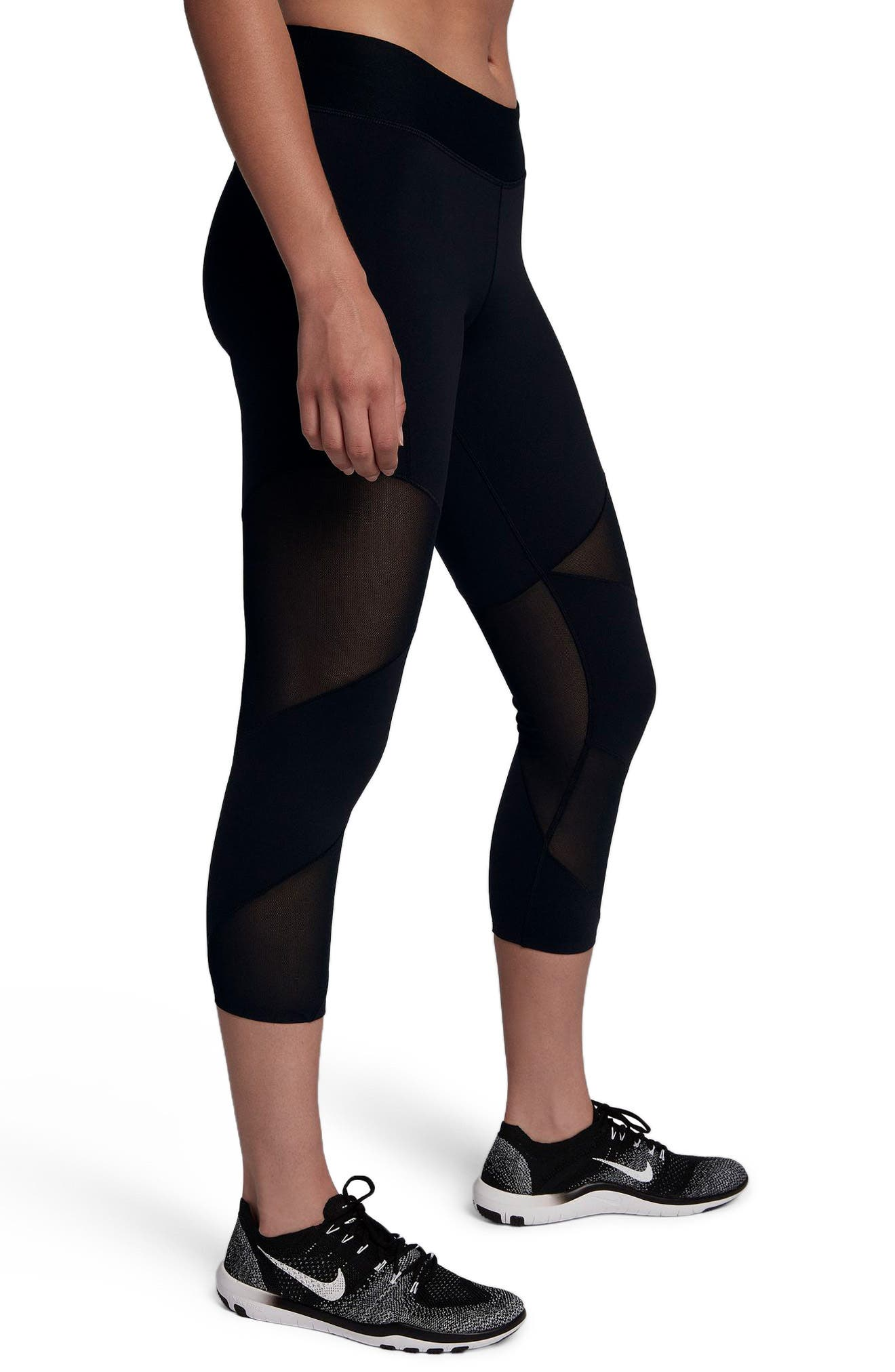 Fly Lux Crop Leggings,                             Alternate thumbnail 3, color,                             BLACK/ CLEAR