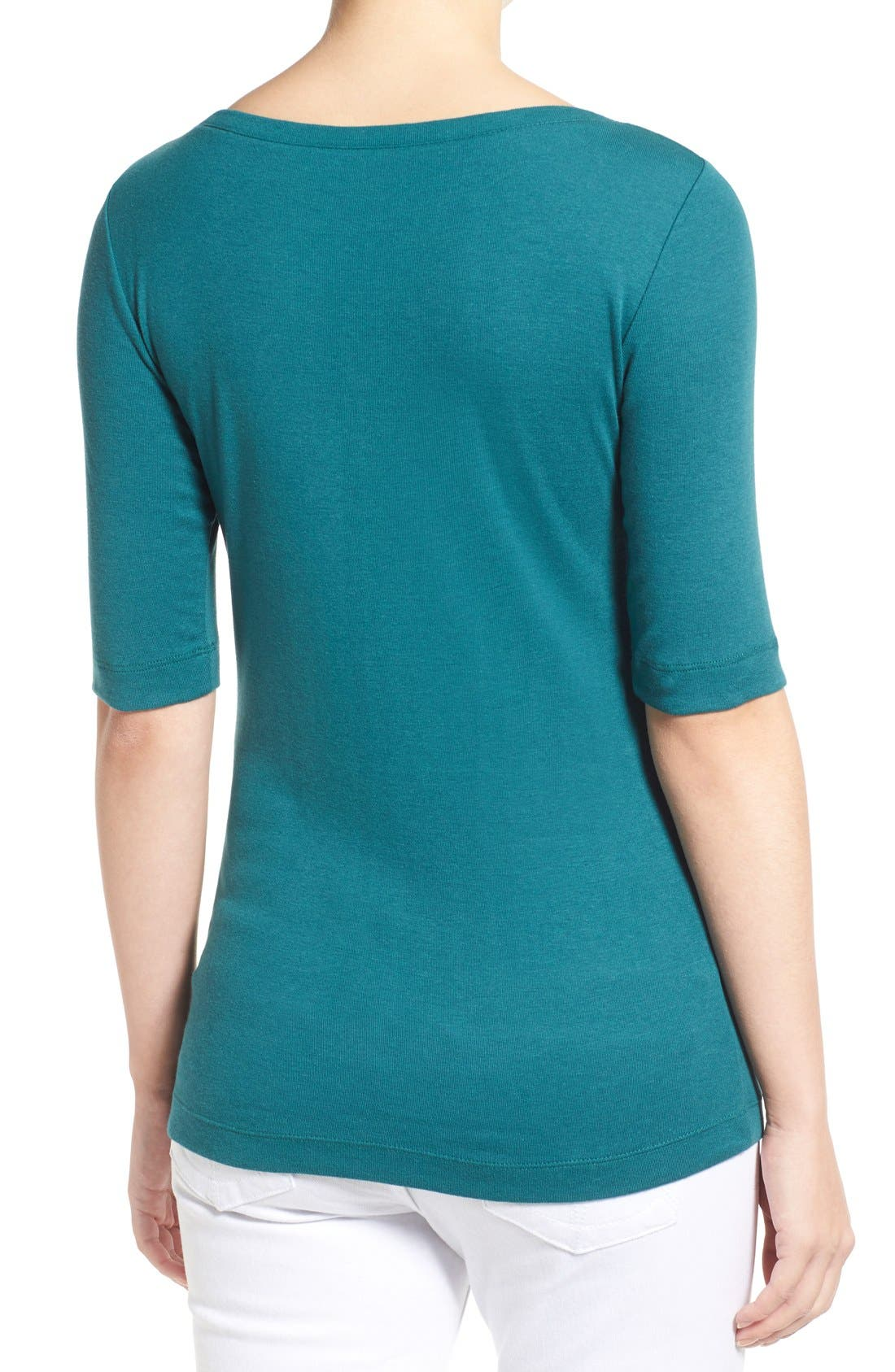 Ballet Neck Cotton & Modal Knit Elbow Sleeve Tee,                             Alternate thumbnail 140, color,