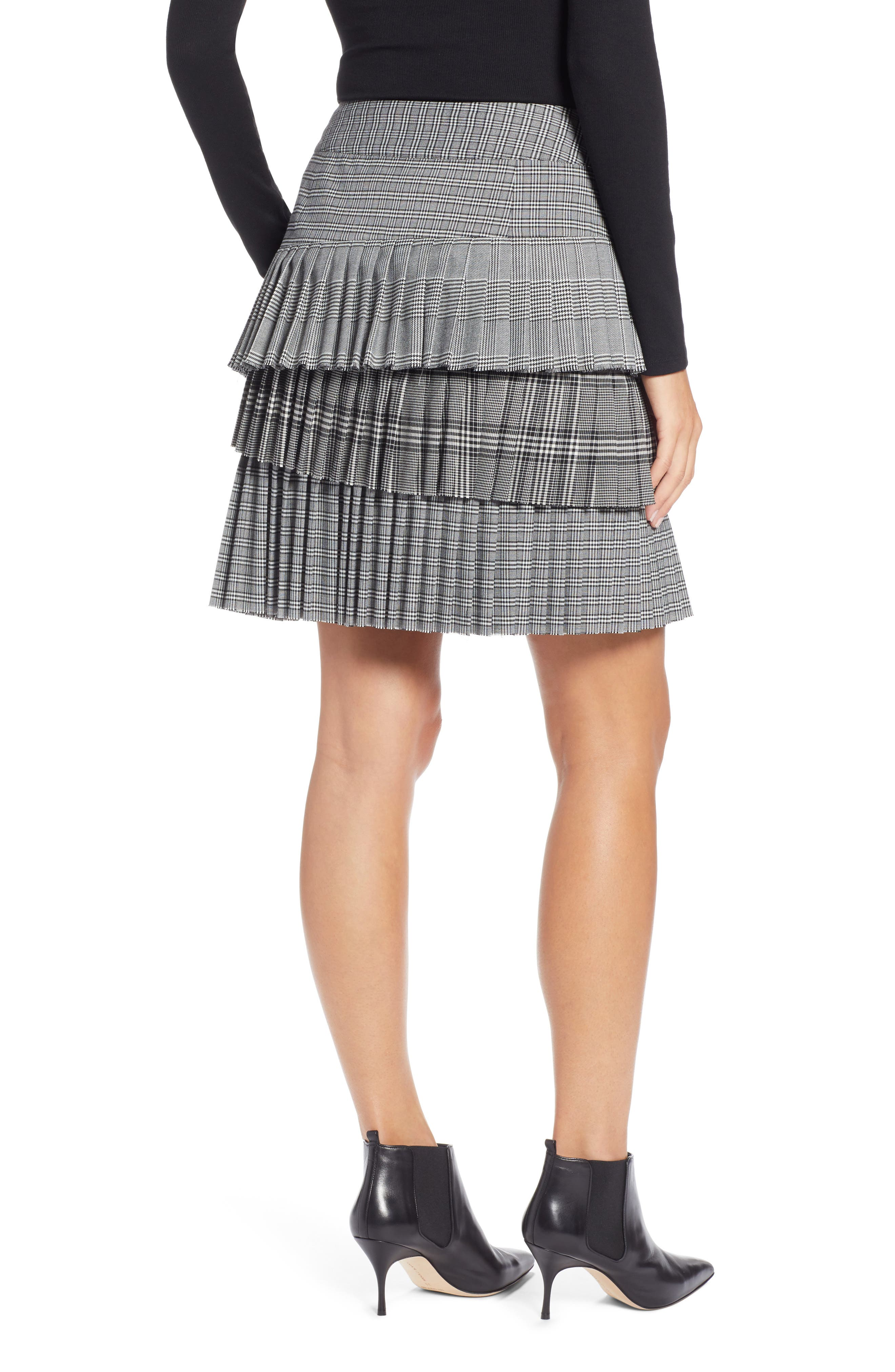 Layered Pleated Skirt,                             Alternate thumbnail 2, color,                             BLACK MIXED PLAID