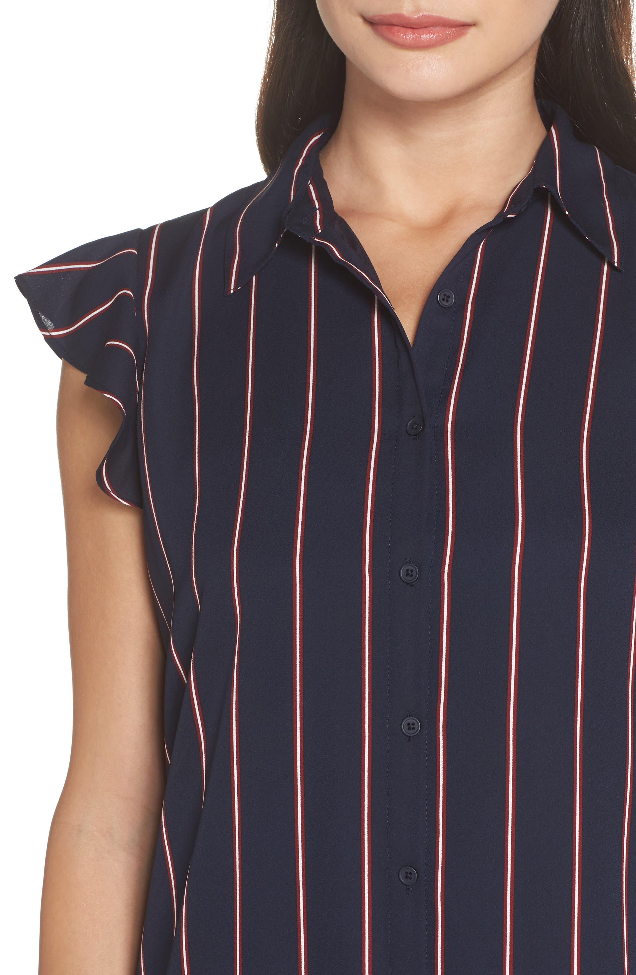 American Pie Stripe Shirtdress,                             Alternate thumbnail 4, color,                             MIDNIGHT SKY