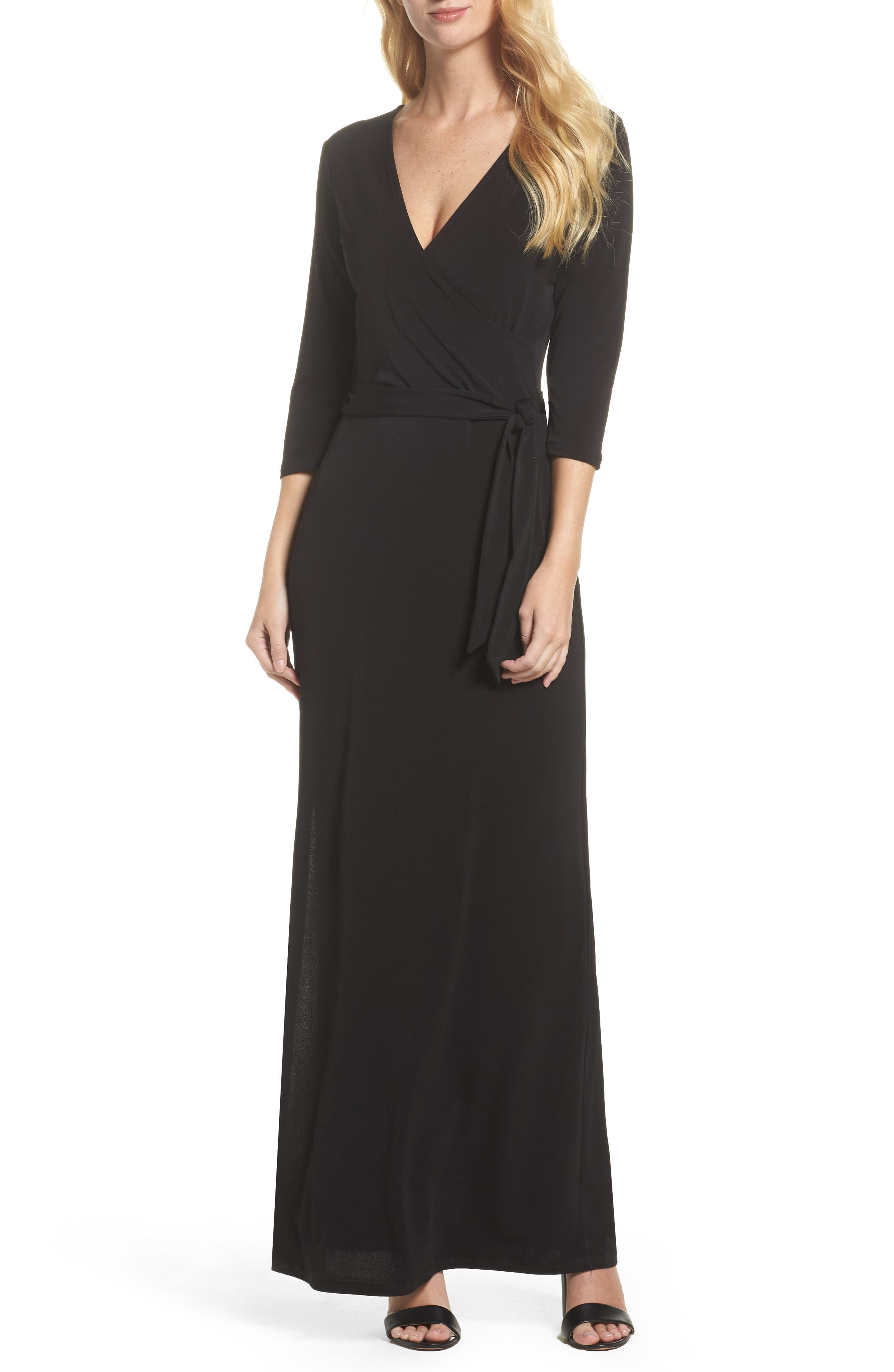 Perfect Wrap Maxi Dress,                             Main thumbnail 1, color,                             BLACK CREPE