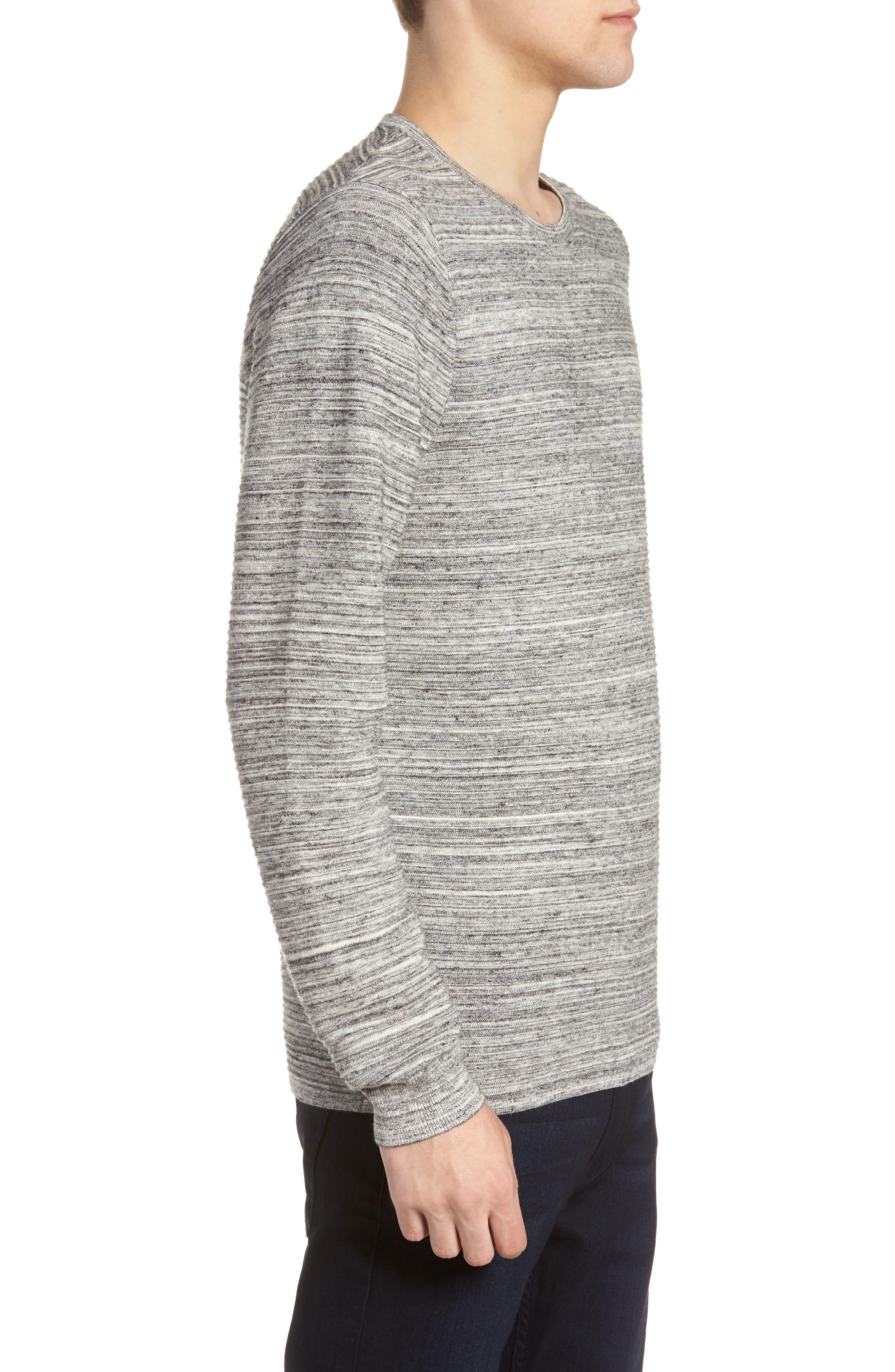 Ottoman Crewneck Sweater,                             Alternate thumbnail 3, color,                             GREY TORNADO SPACEDYE