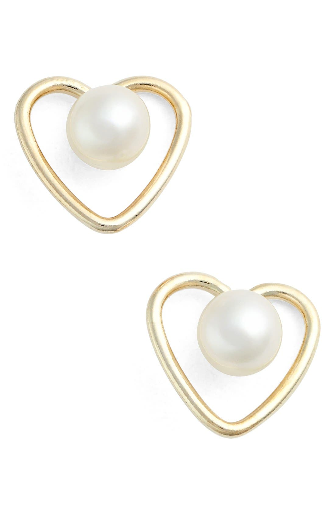 Cultured Pearl Heart Earrings,                             Main thumbnail 1, color,                             YELLOW GOLD