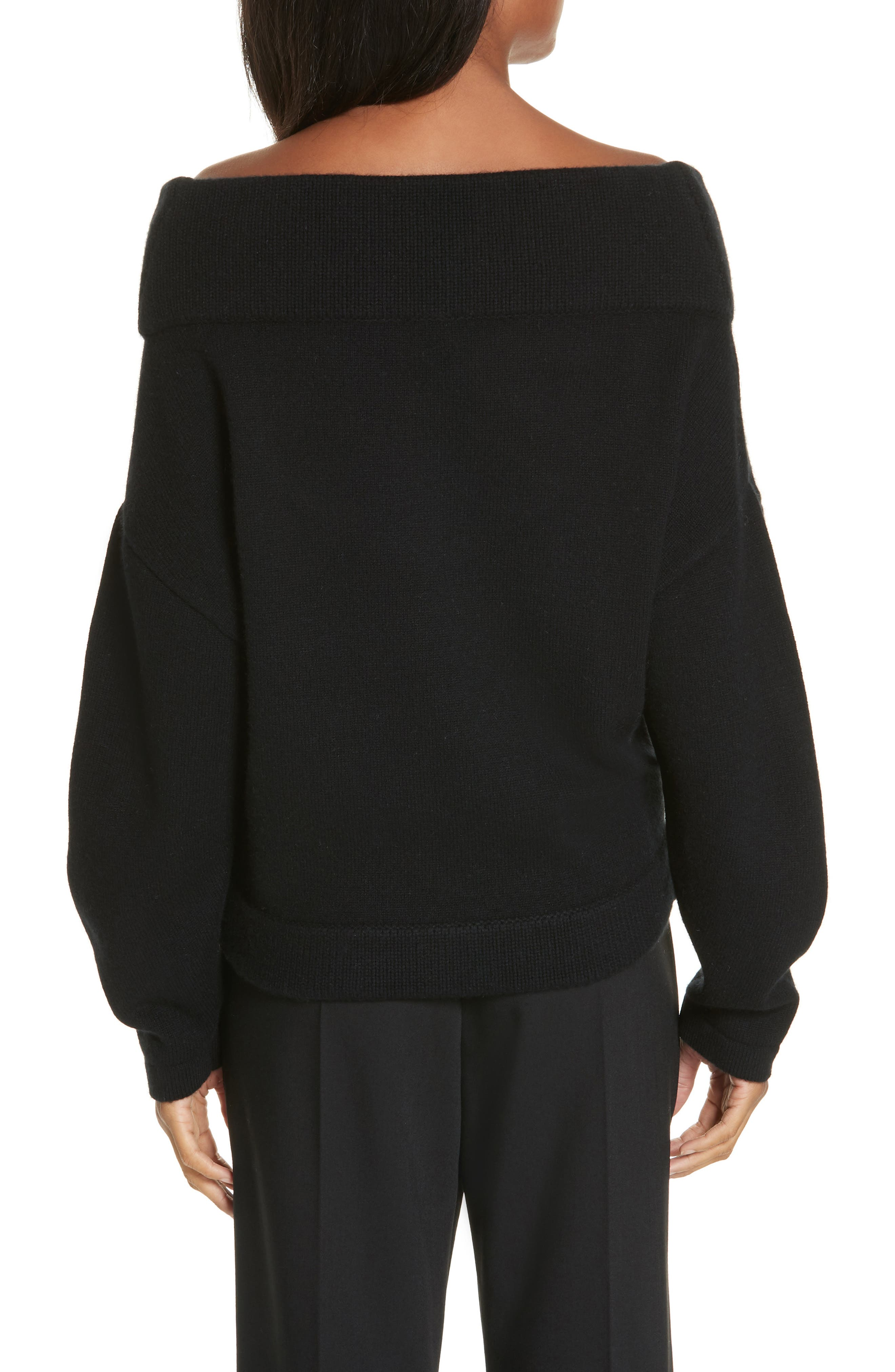 Crop Wool & Cashmere Sweater,                             Alternate thumbnail 2, color,                             001