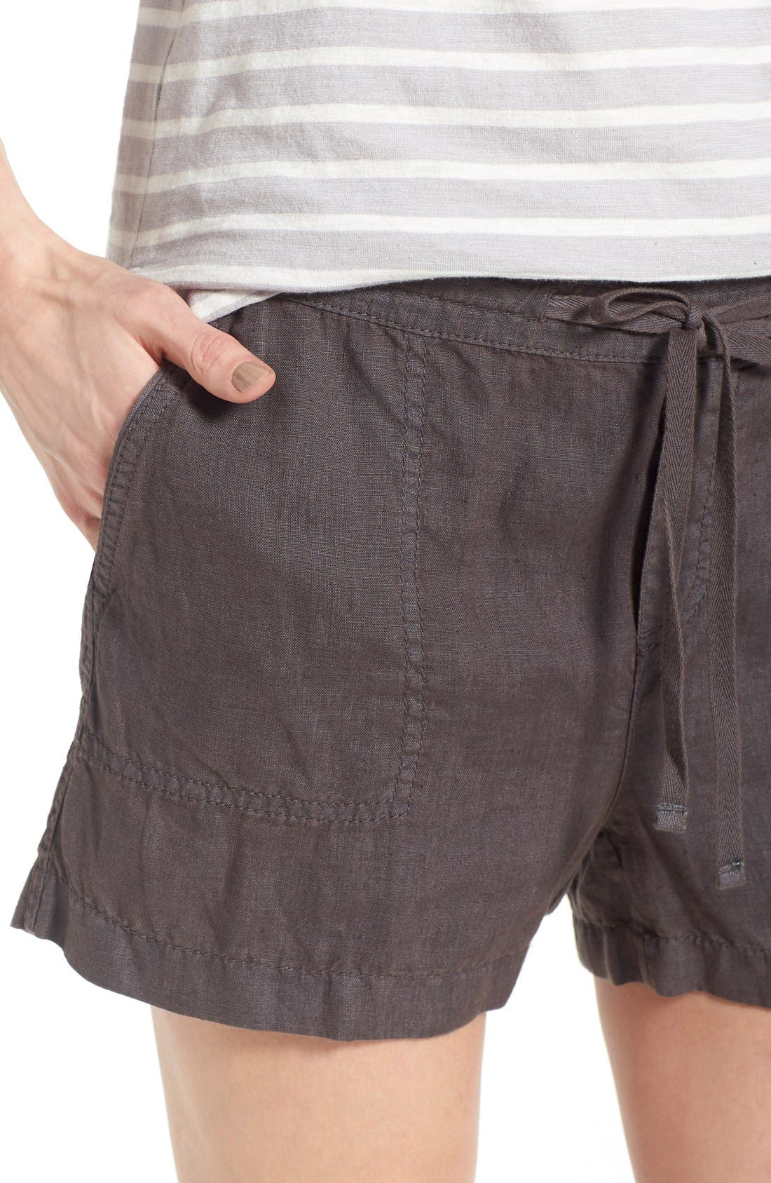 Drawstring Linen Shorts,                             Alternate thumbnail 3, color,                             030