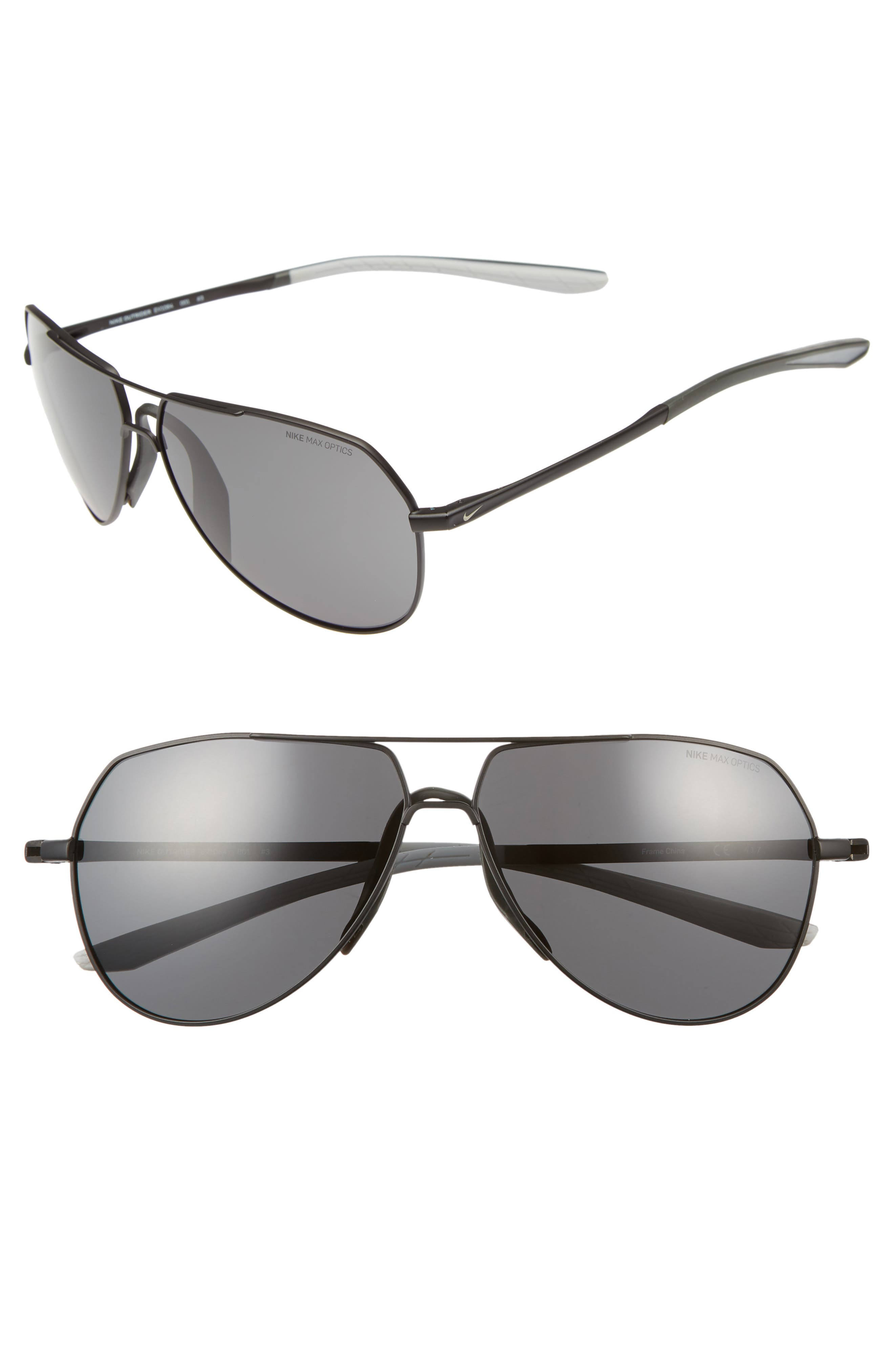 Nike Outrider 62Mm Oversize Aviator Sunglasses - Black/ Grey