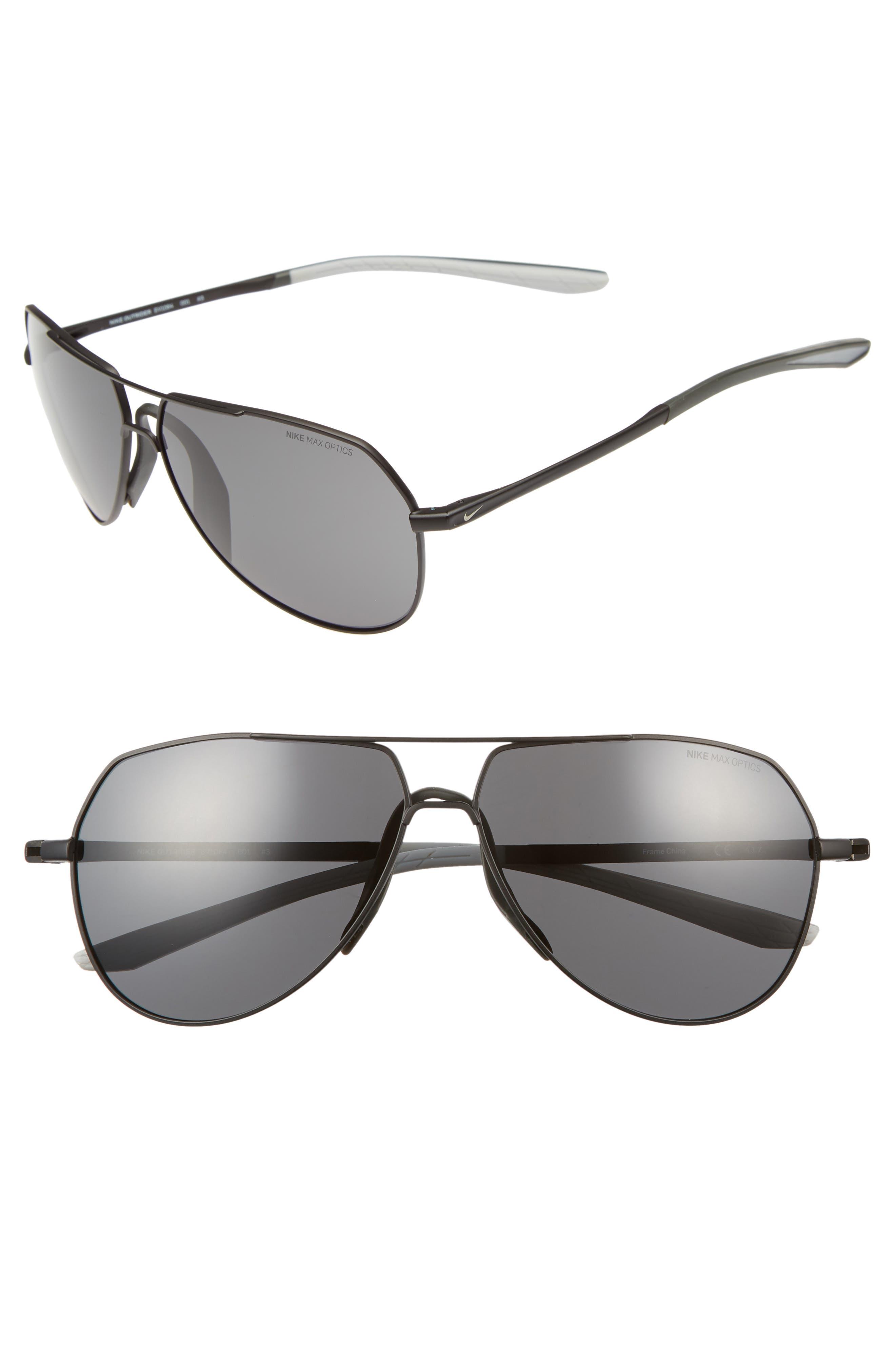 Outrider 62mm Oversize Aviator Sunglasses,                         Main,                         color, BLACK/ GREY