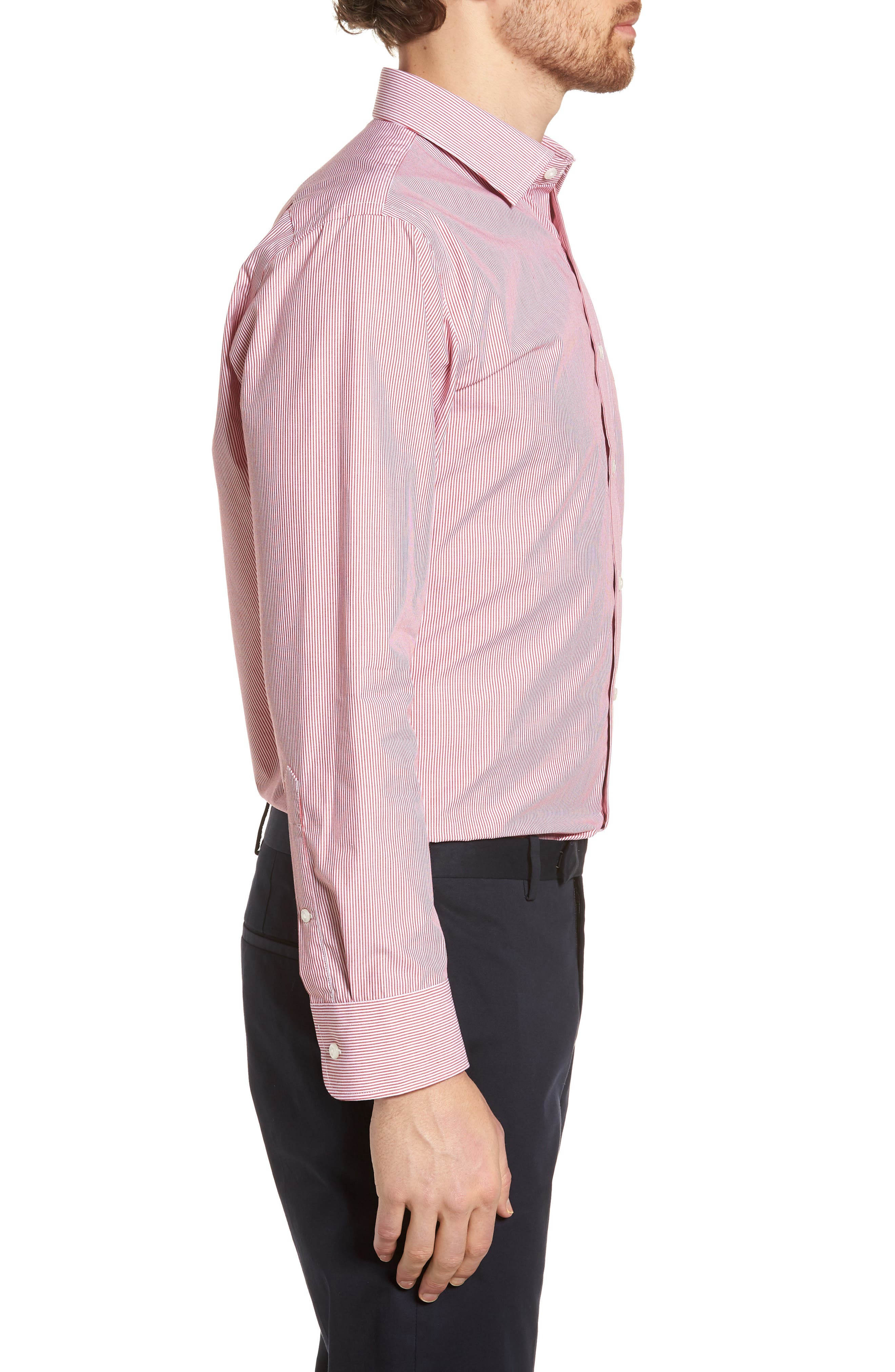 Trim Fit Non-Iron Stripe Dress Shirt,                             Alternate thumbnail 23, color,