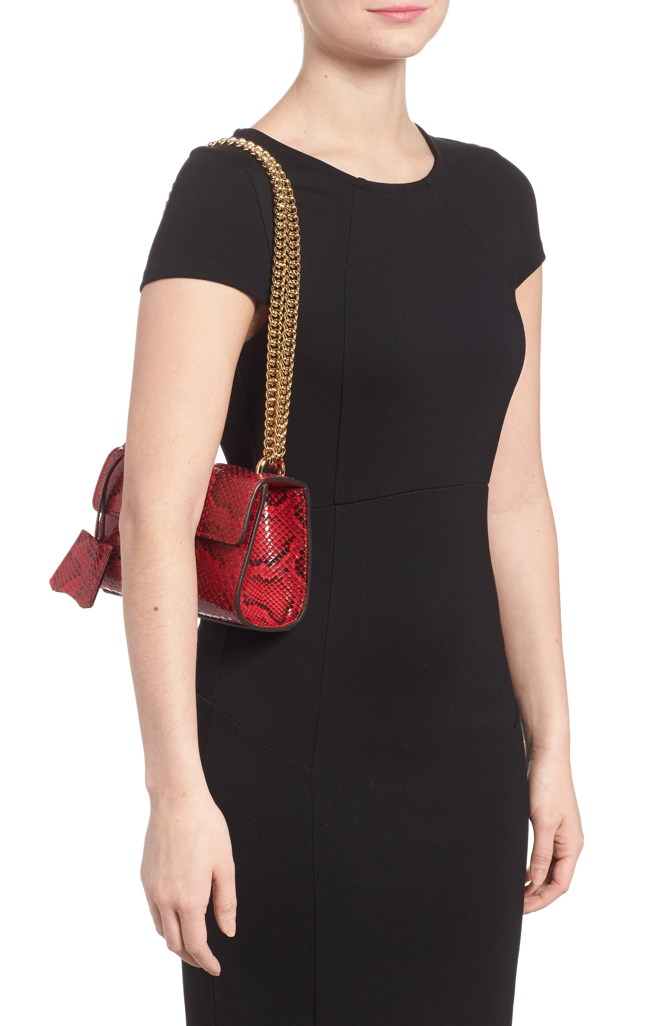 Small Padlock - Genuine Python Shoulder Bag,                             Alternate thumbnail 2, color,                             HIBISCUS RED