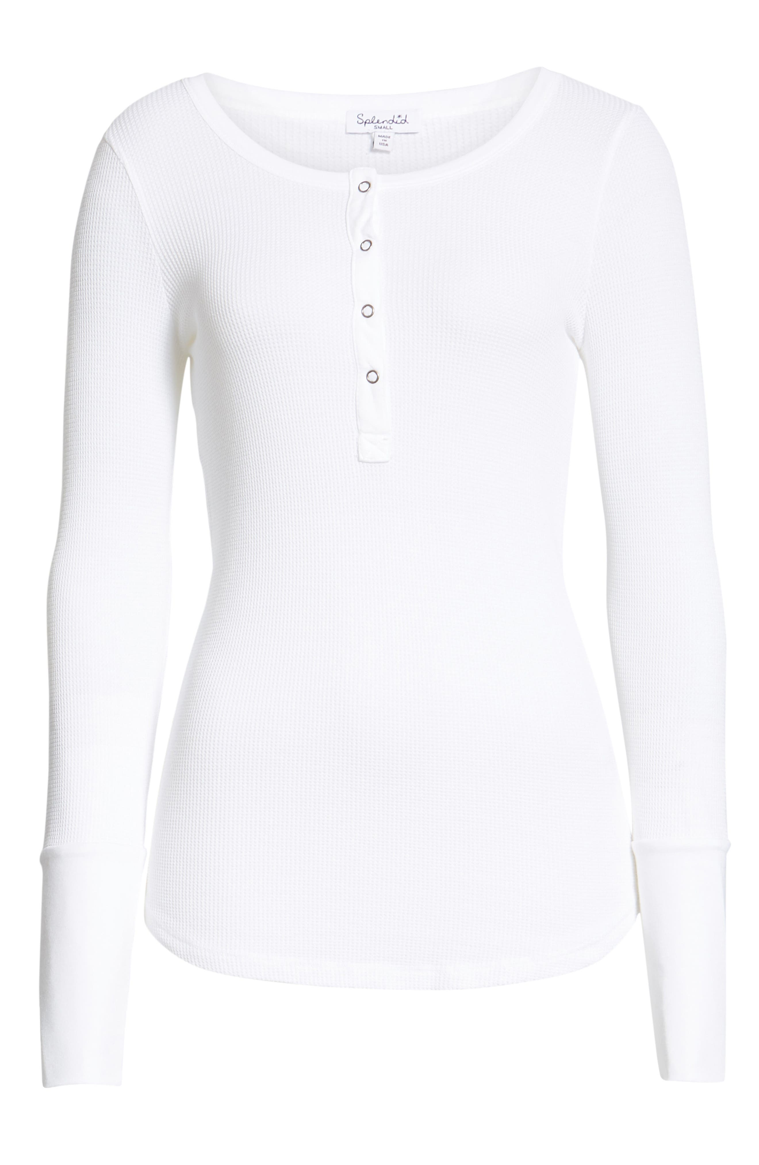 Classic Henley Thermal,                             Alternate thumbnail 6, color,                             WHITE