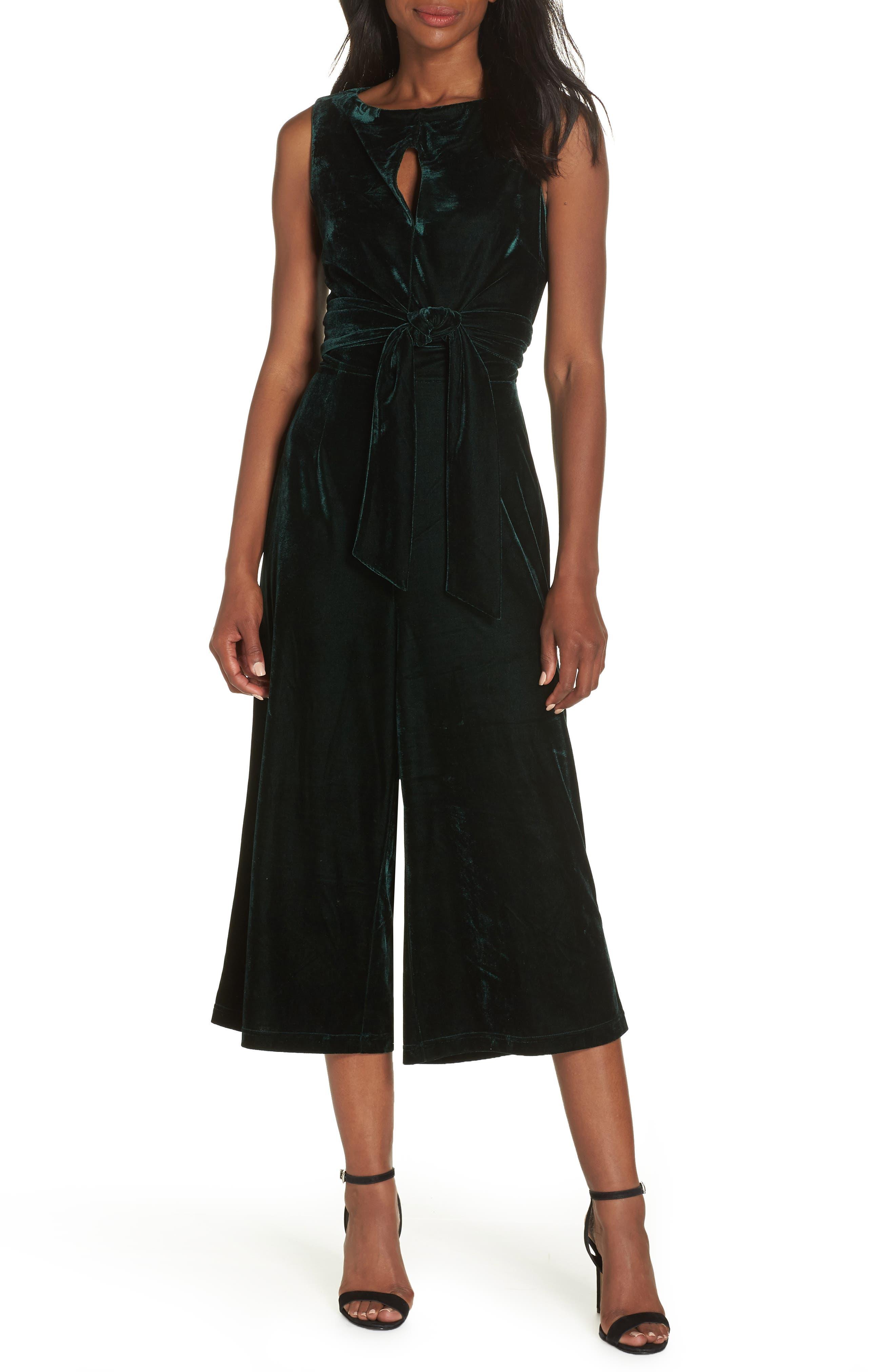 ADELYN RAE Simone Wide Leg Crop Velvet Jumpsuit in Hunter Green