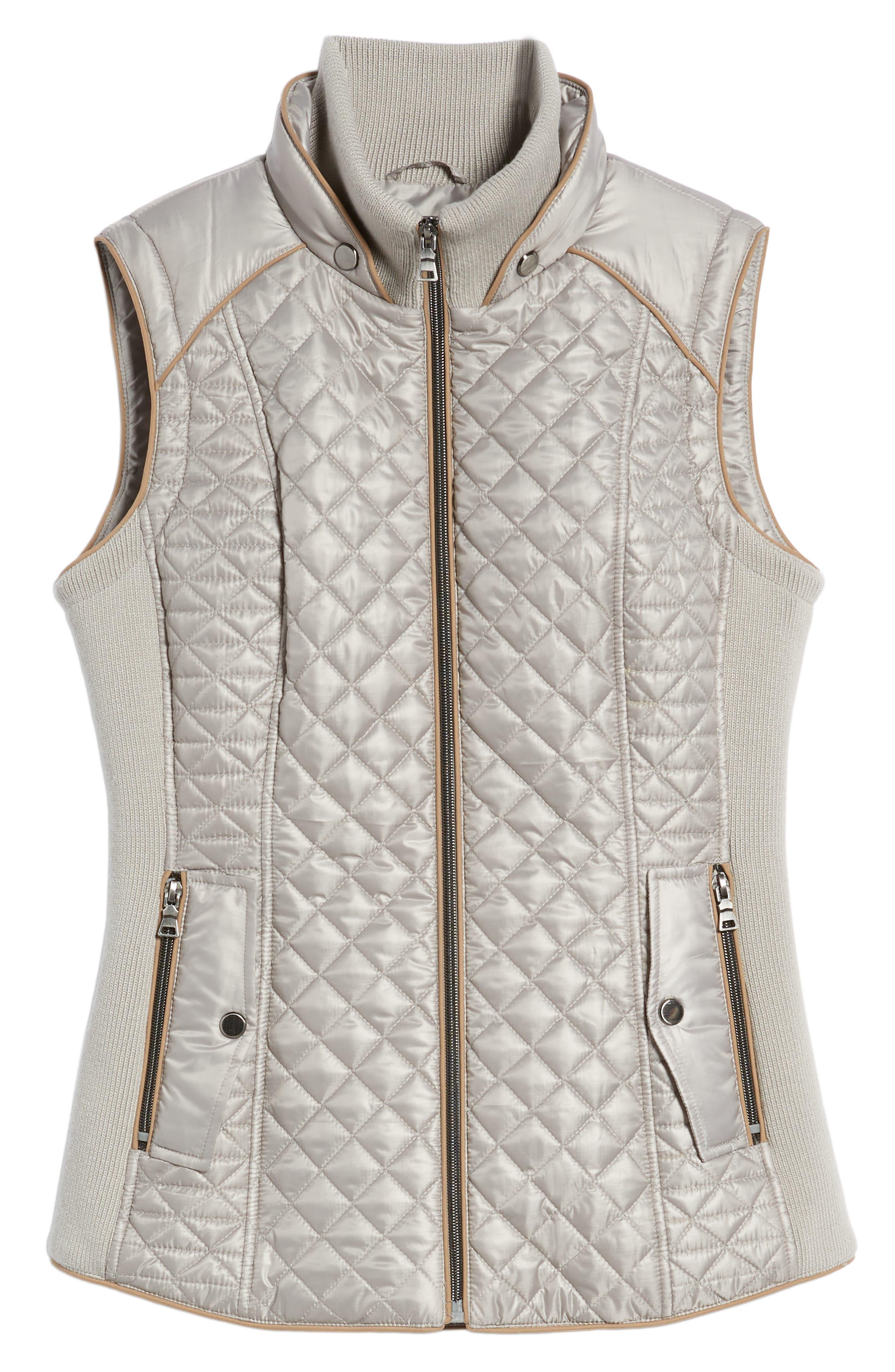 Quilted & Knit Vest,                             Alternate thumbnail 6, color,                             PLATINUM