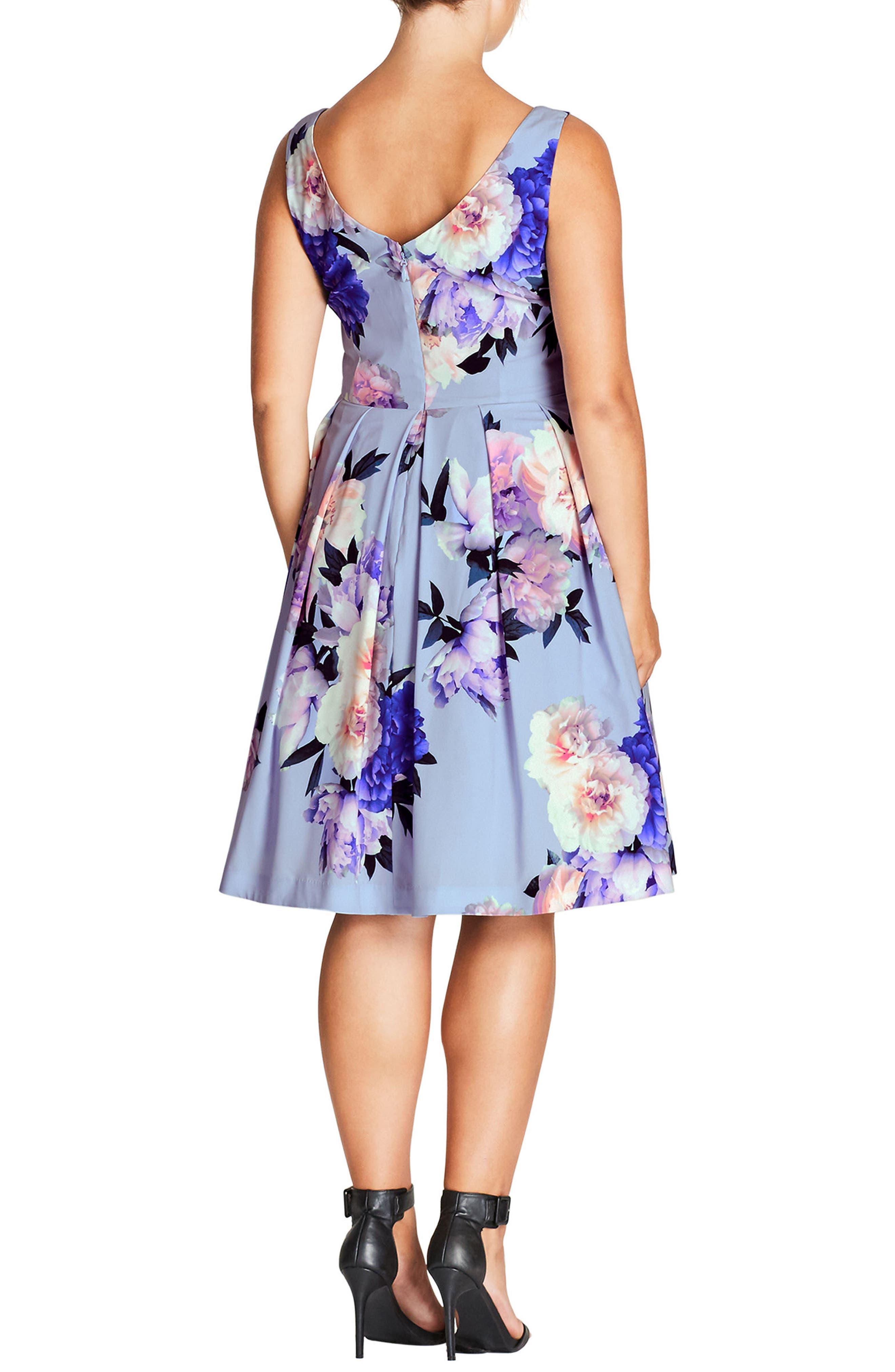 Soft Blues Fit & Flare Dress,                             Alternate thumbnail 2, color,                             SOFT BLUES