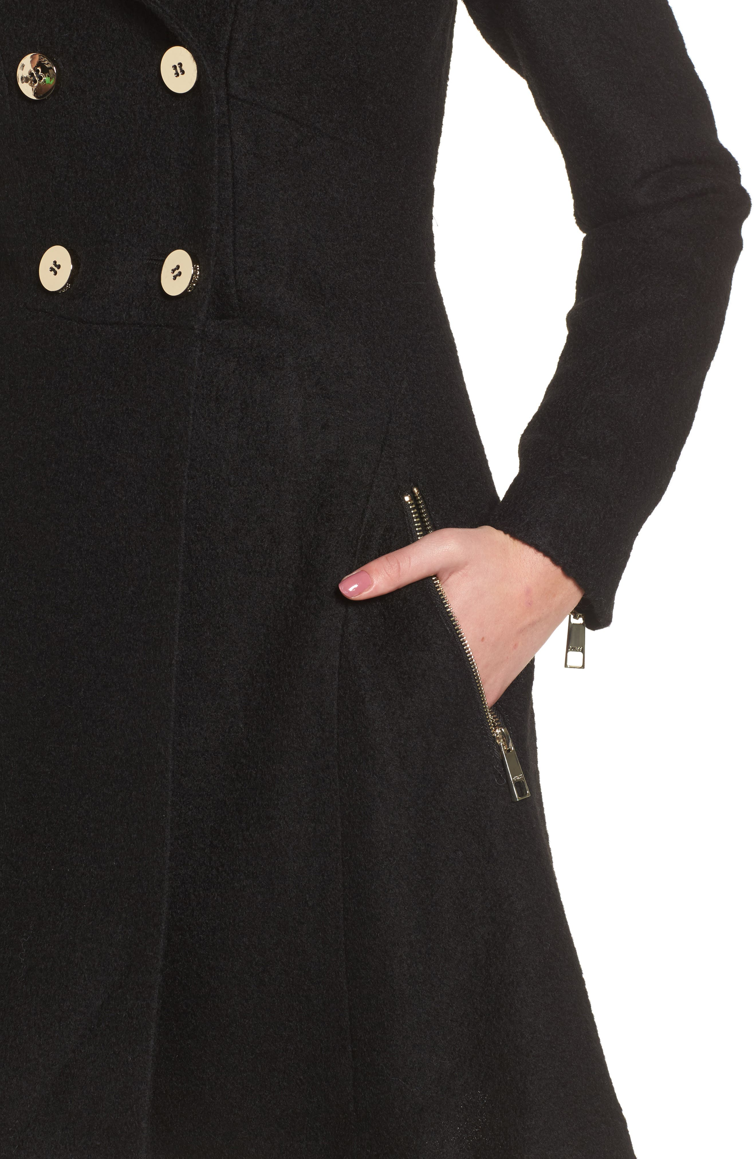 Double Breasted Boiled Wool Peacoat,                             Alternate thumbnail 4, color,                             001