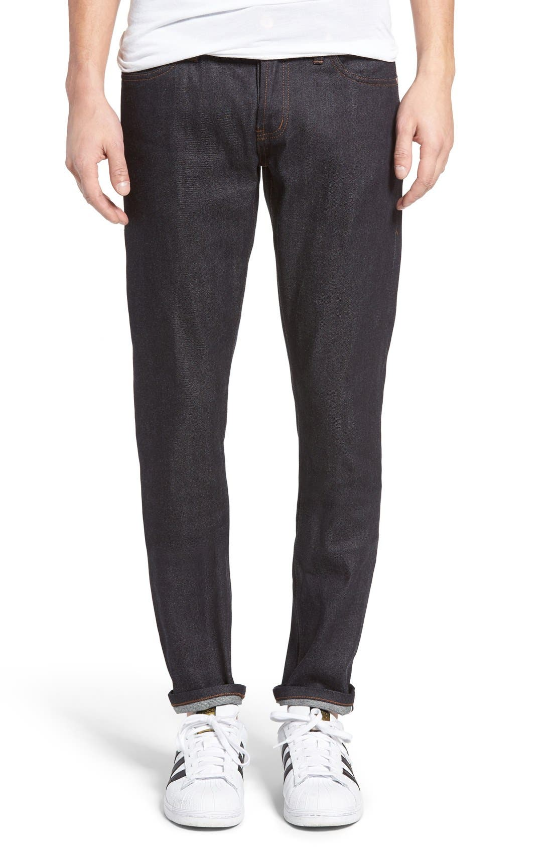 UB422 Selvedge Skinny Fit Jeans, Main, color, 401