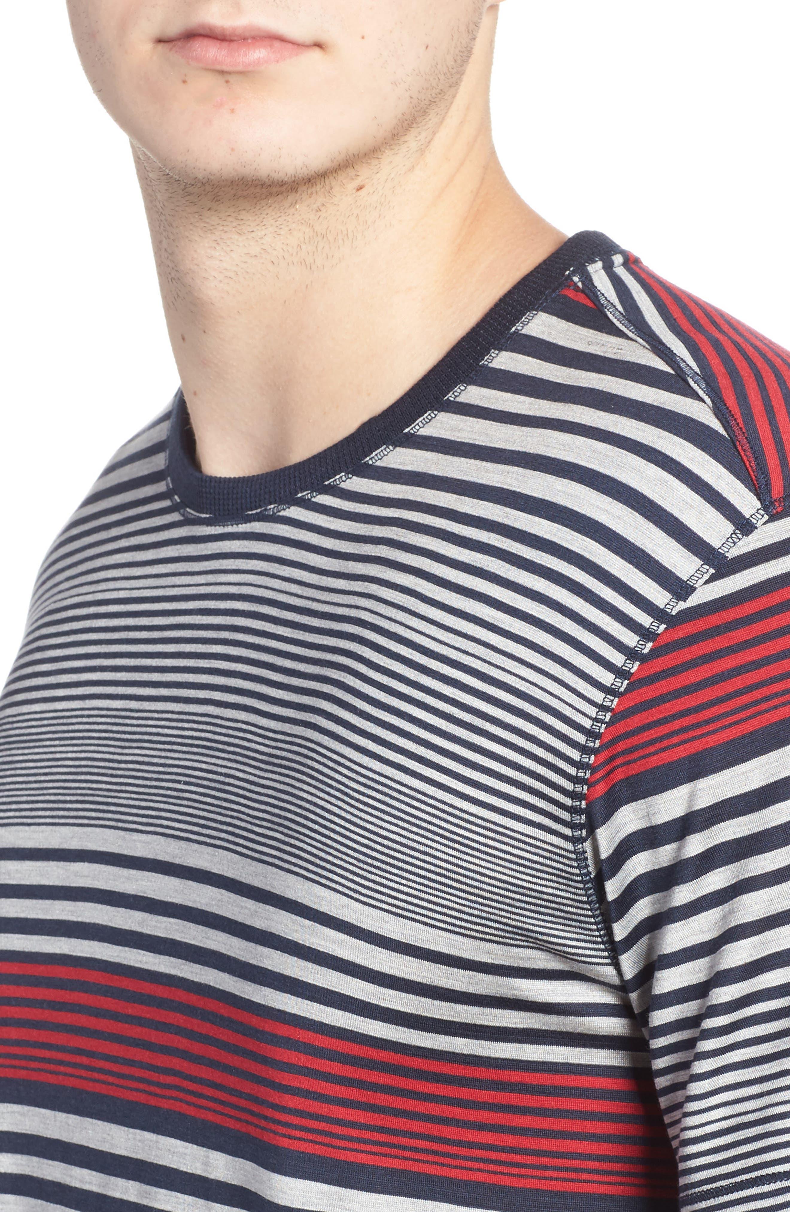 Stripe Silk & Cotton T-Shirt,                             Alternate thumbnail 4, color,                             400