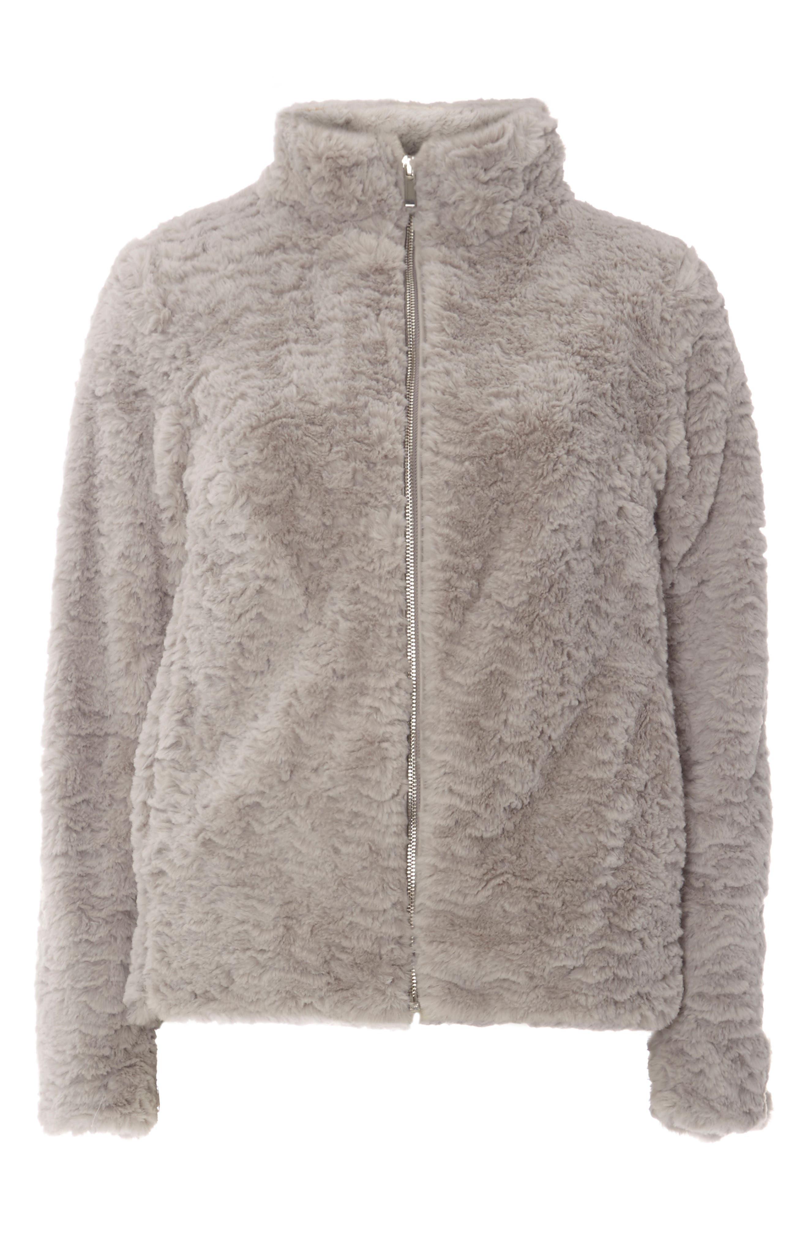 Faux Fur Funnel Collar Jacket,                             Alternate thumbnail 4, color,                             040