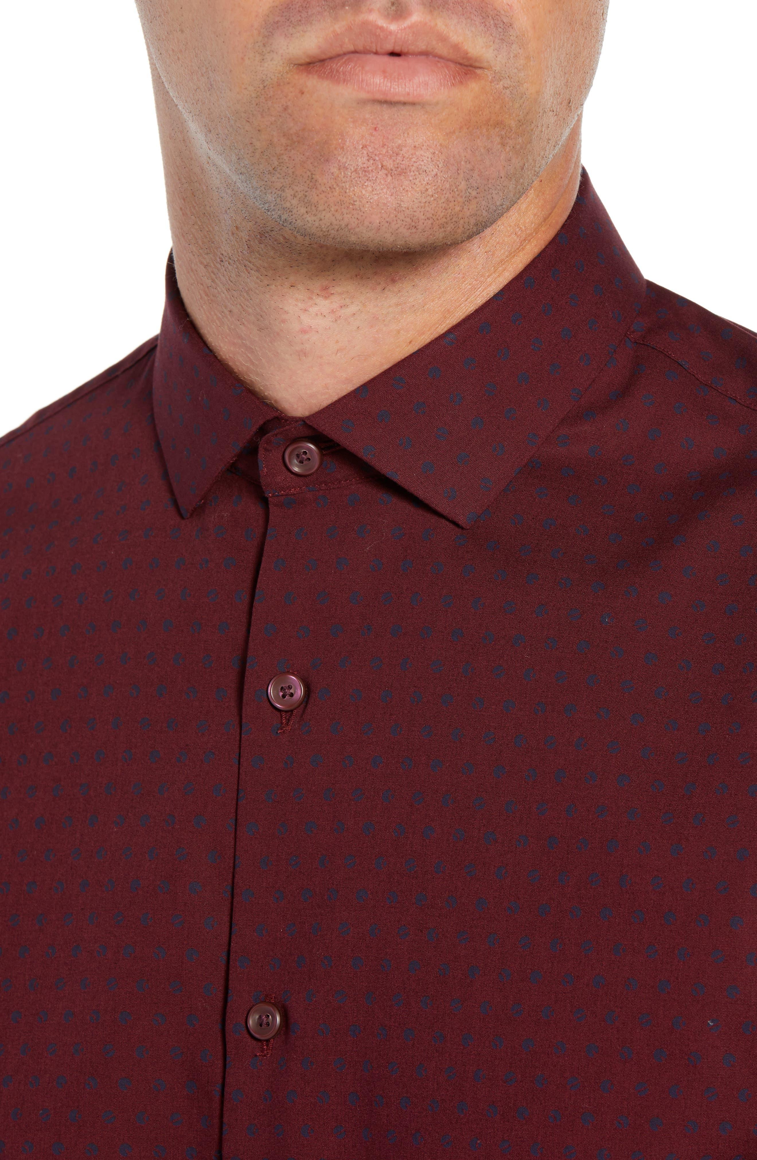 Slim Fit Non Iron Polka Dot Sport Shirt,                             Alternate thumbnail 2, color,                             BURGUNDY ROYALE NAVY DOT