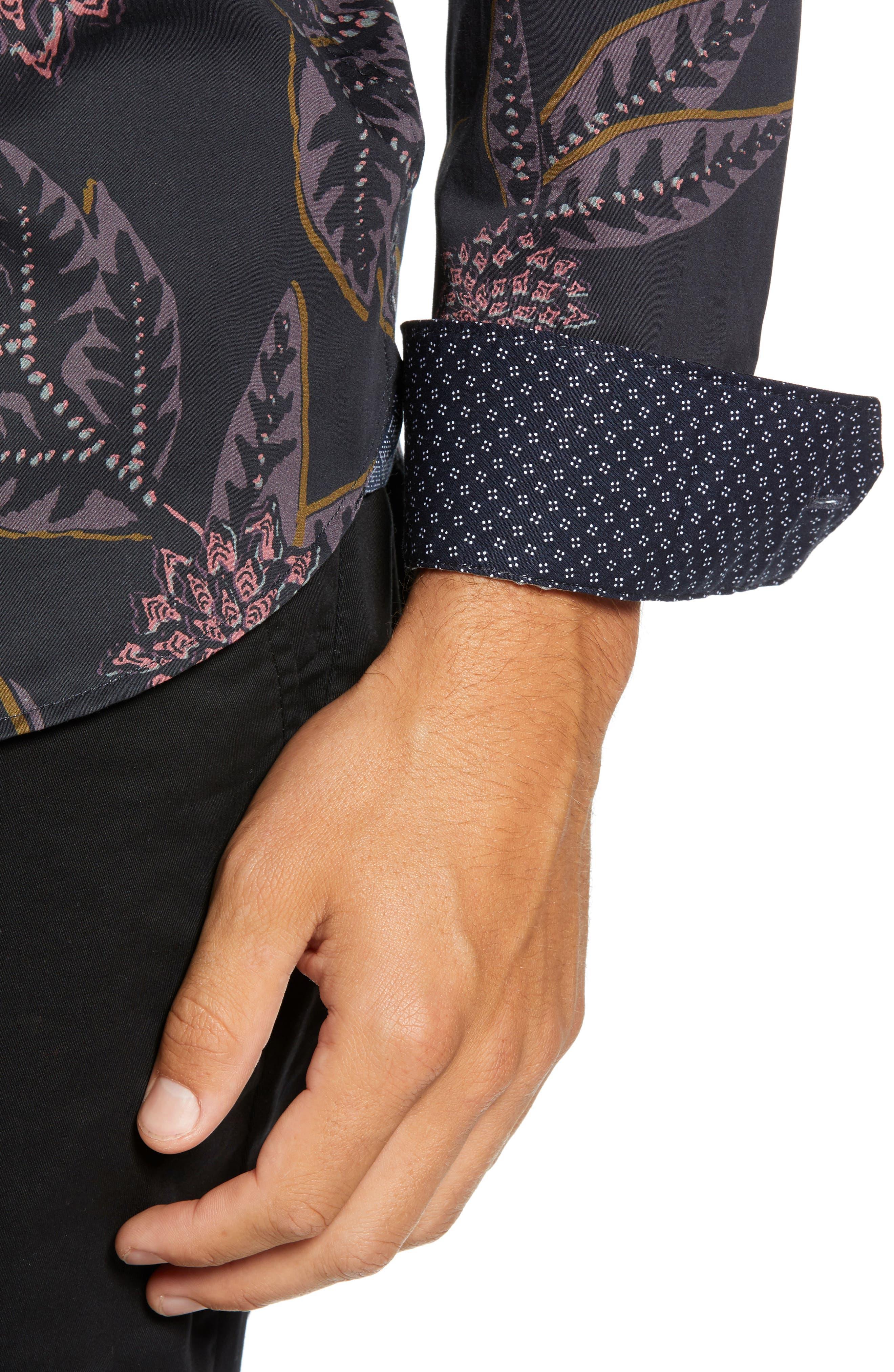 Notting Slim Fit Floral Sport Shirt,                             Alternate thumbnail 2, color,                             NAVY