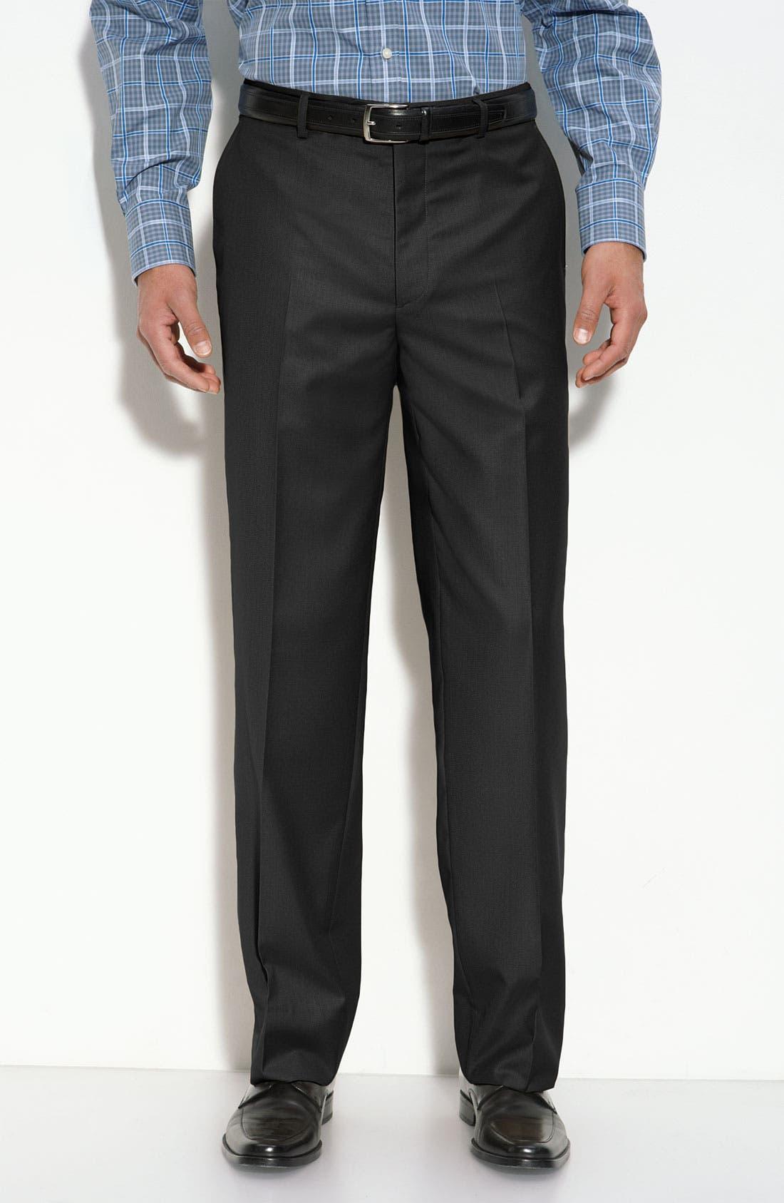 'Travel Genius - Hawk' Flat Front Pants,                         Main,                         color, 001