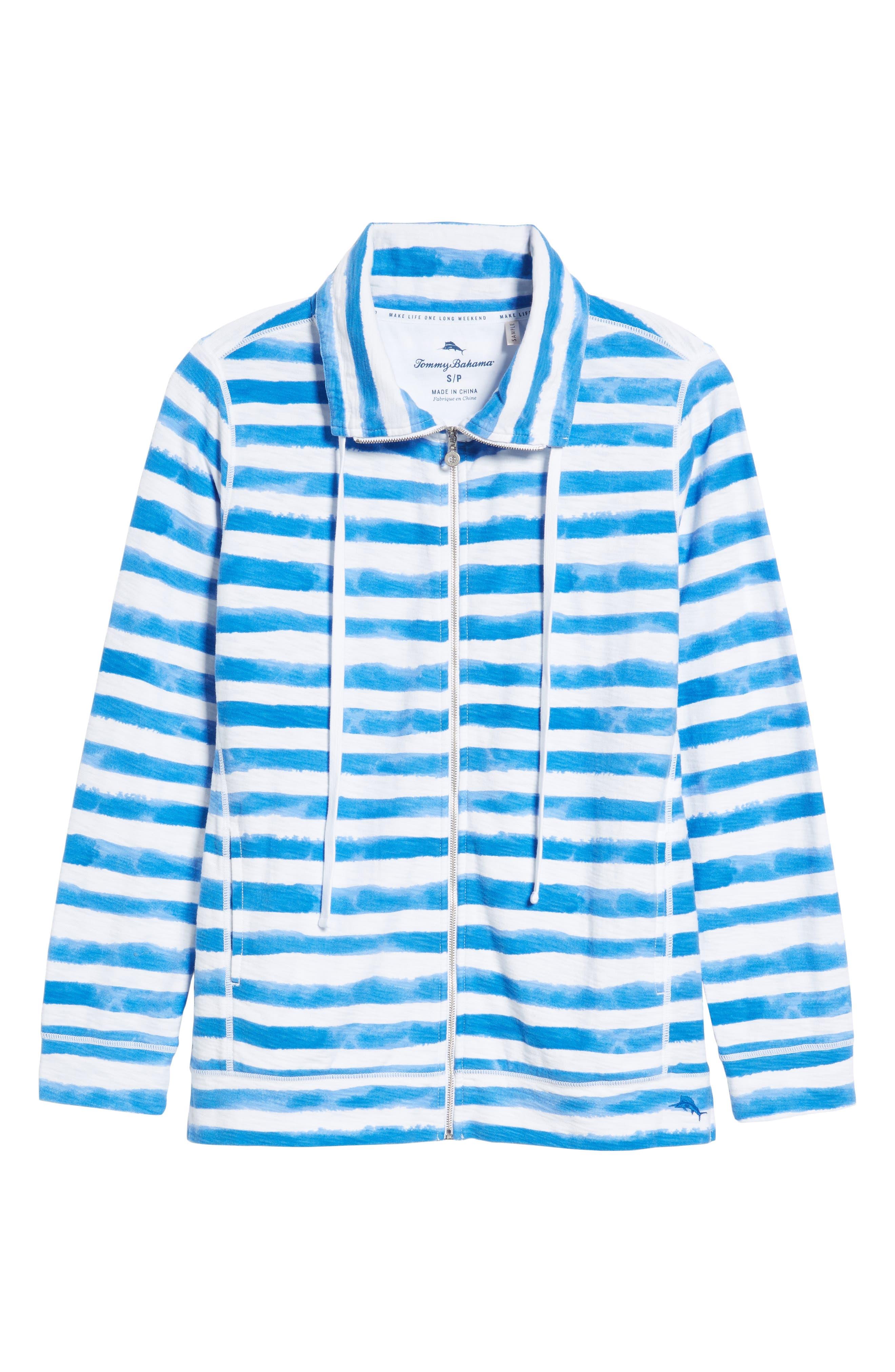 Knoll Bellarossa Stripe Front Zip Jacket,                             Alternate thumbnail 6, color,                             COBALT