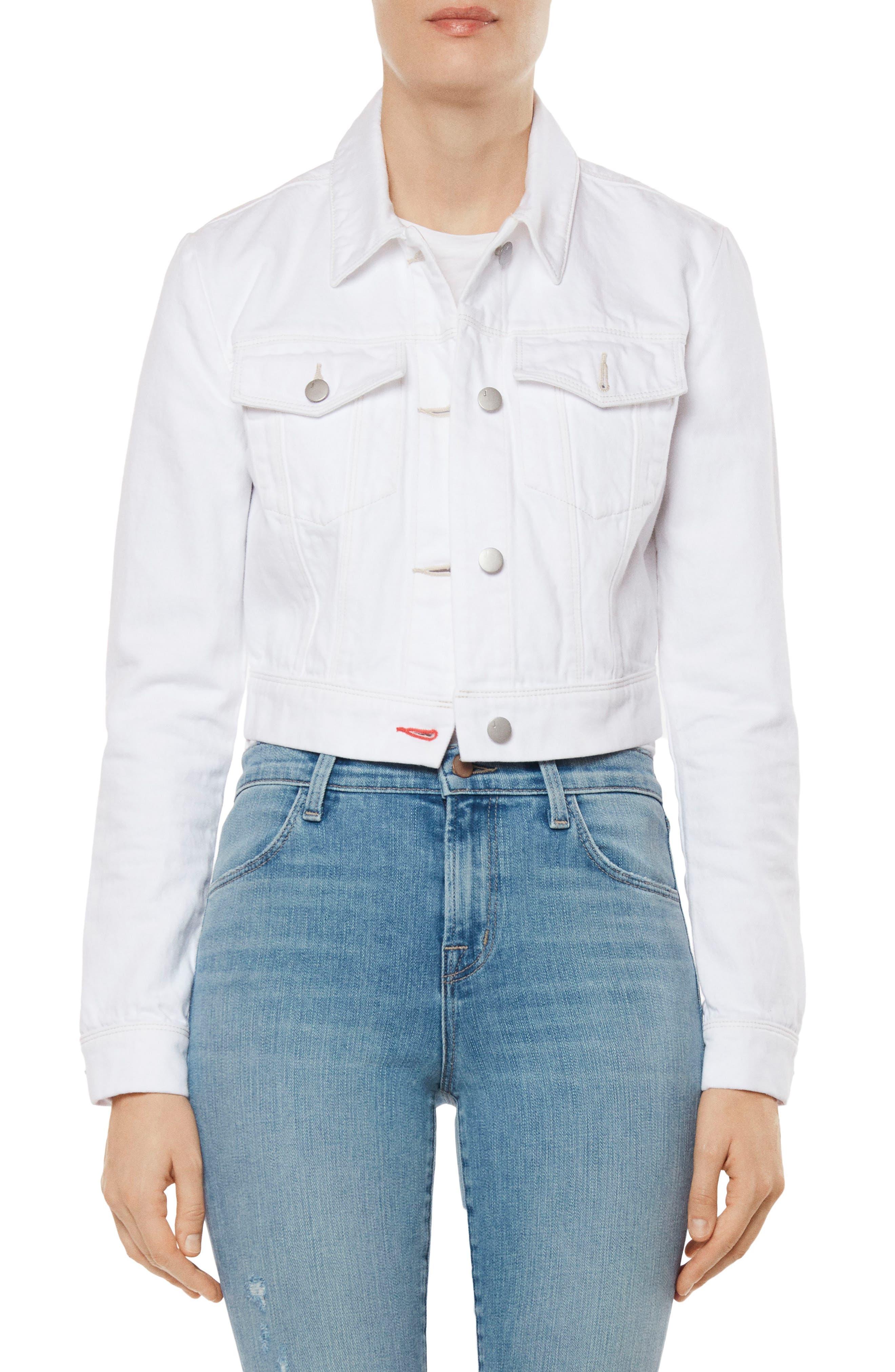 Faye Crop Denim Jacket,                         Main,                         color, WHITE