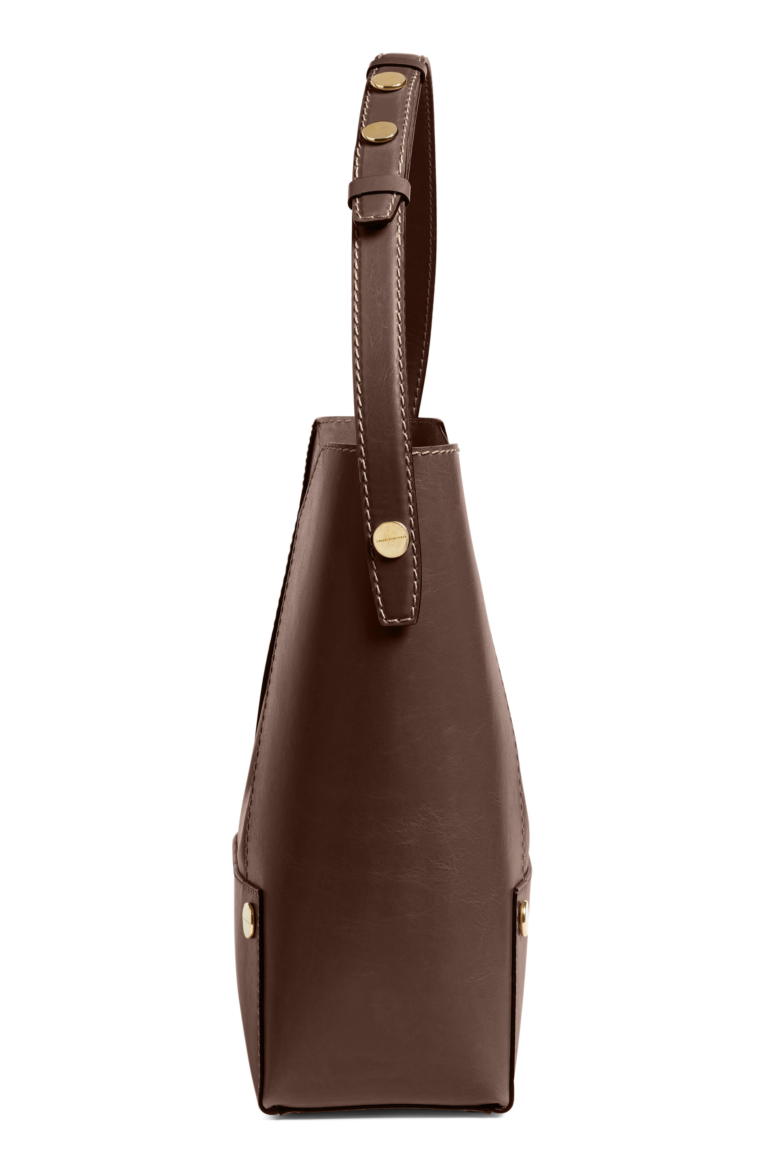 Popper Faux Leather Bucket Bag,                             Alternate thumbnail 4, color,                             217